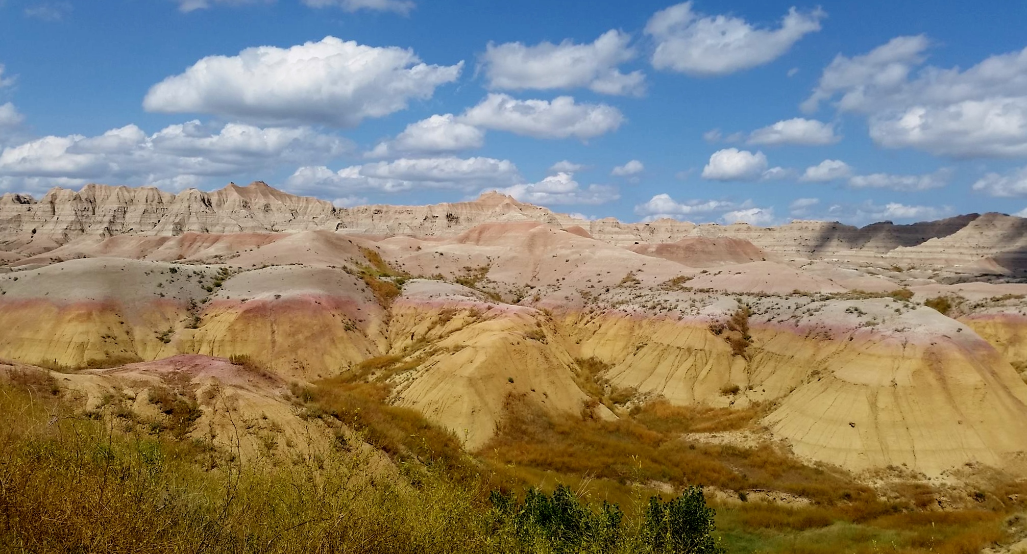 Another section of the Badlands with amazing colors in the dirt.  Over 75 million years ago, it was all under water and there were giant sea creatures living here.