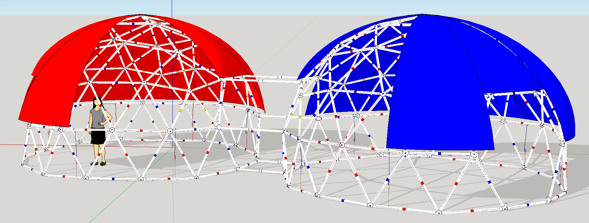 "Two ""Bucky Balls"" connected by a tunnel, designed in Sketchup"