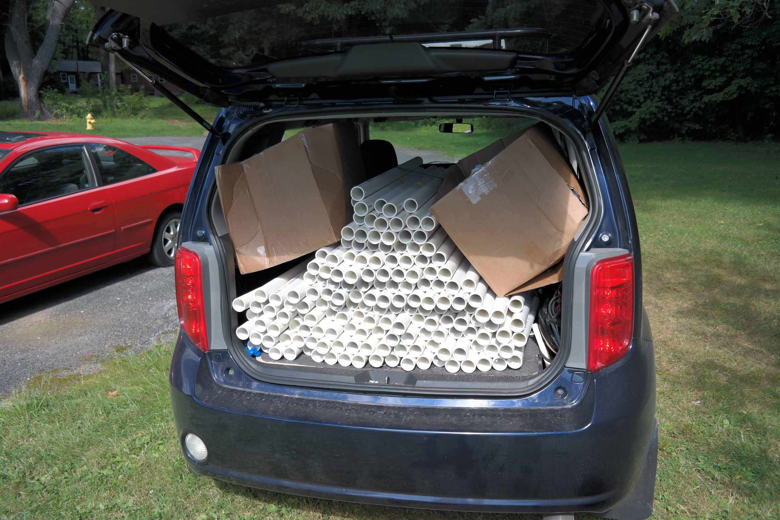 Here are all 76 pipes cut, and stored in my wagon.