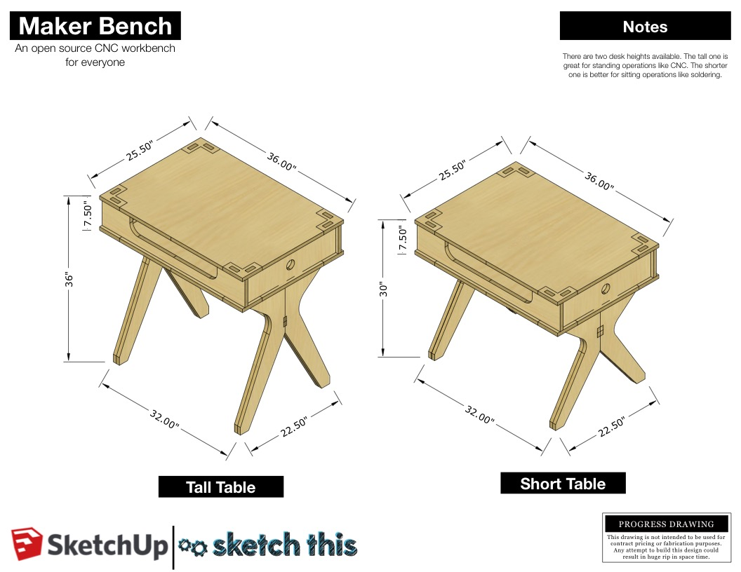 The bench comes in two different heights. The tall one is great for standing work like CNC milling, hammering and sawing. The shorter desk is setup for sitting operations. Things like soldering, assembling, and drawing.