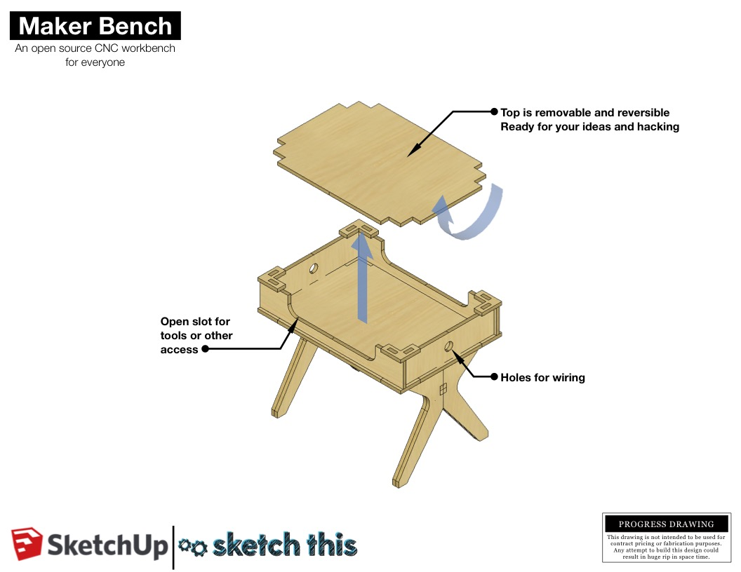 The top is removable and reversible. The idea is that you could do something messy or damaging to one side of the top and flip it over for a smooth writing surface. You could even have multiple tops for different types of work.