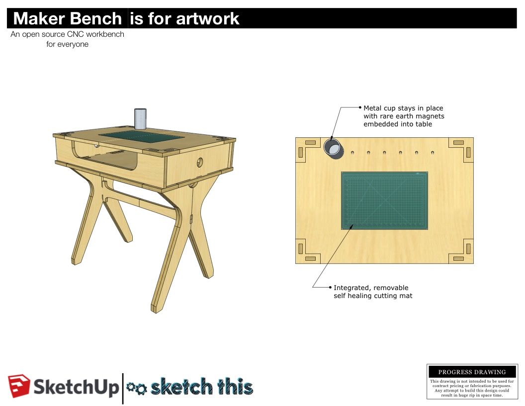 This art table features a self healing cutting mat that is flush with the surface. The mat can be easily removed when it gets damaged. The metal cup is held in place with embedded rare earth magnets. This way you can have your drawing and cutting utensils right at hand and not have to worry about getting them knocked over.