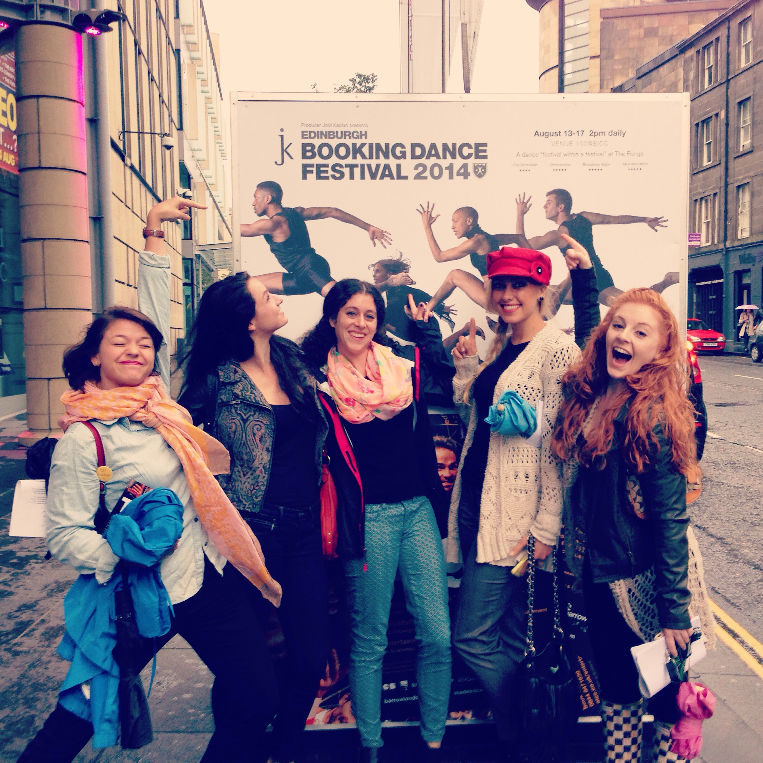The girls in front of the EICC with the Booking Dance Festival poster!