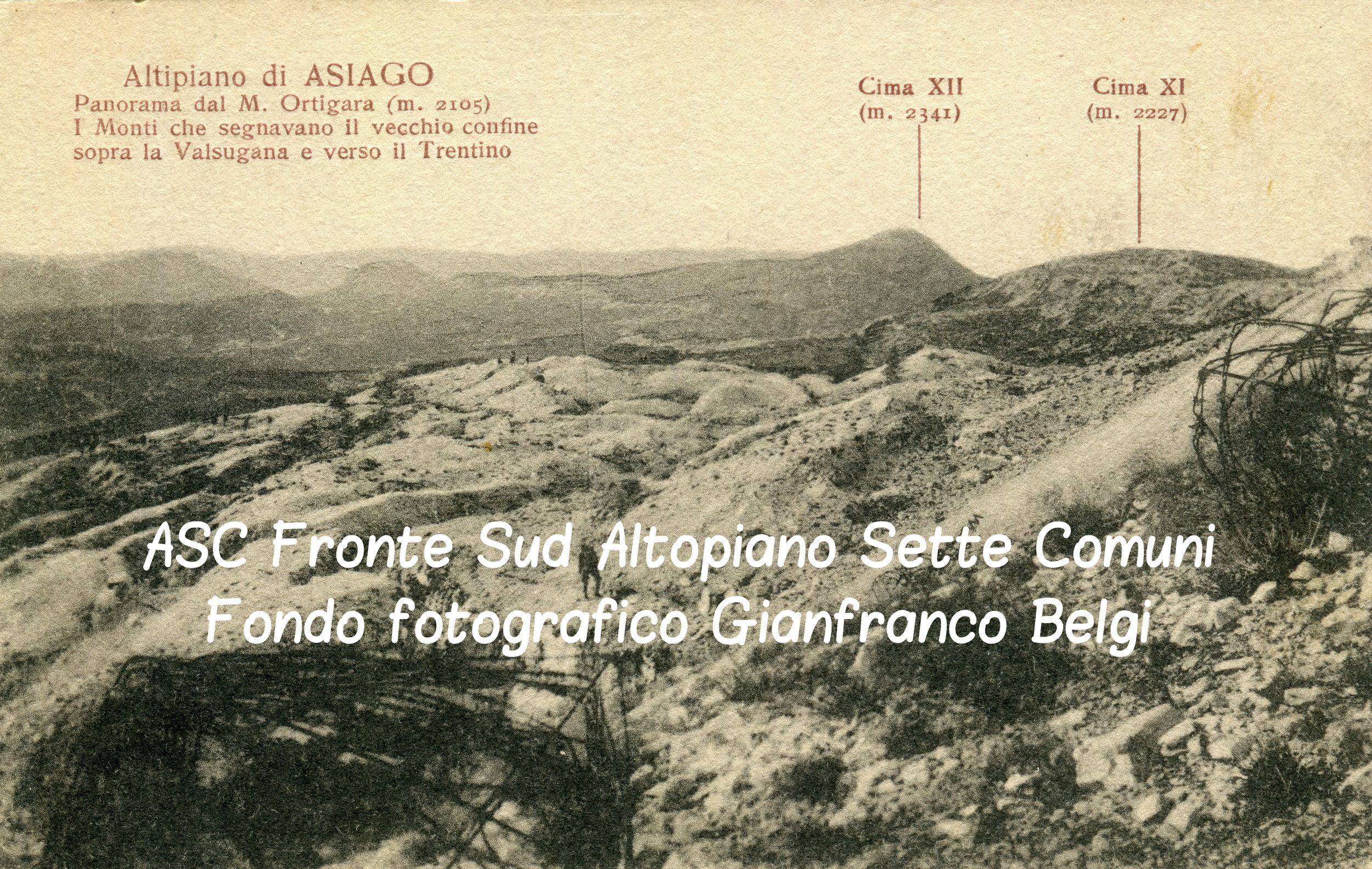 Una vecchia cartolina che ritrae il campo di battaglia dell'Ortigara nel primo dopoguerra
