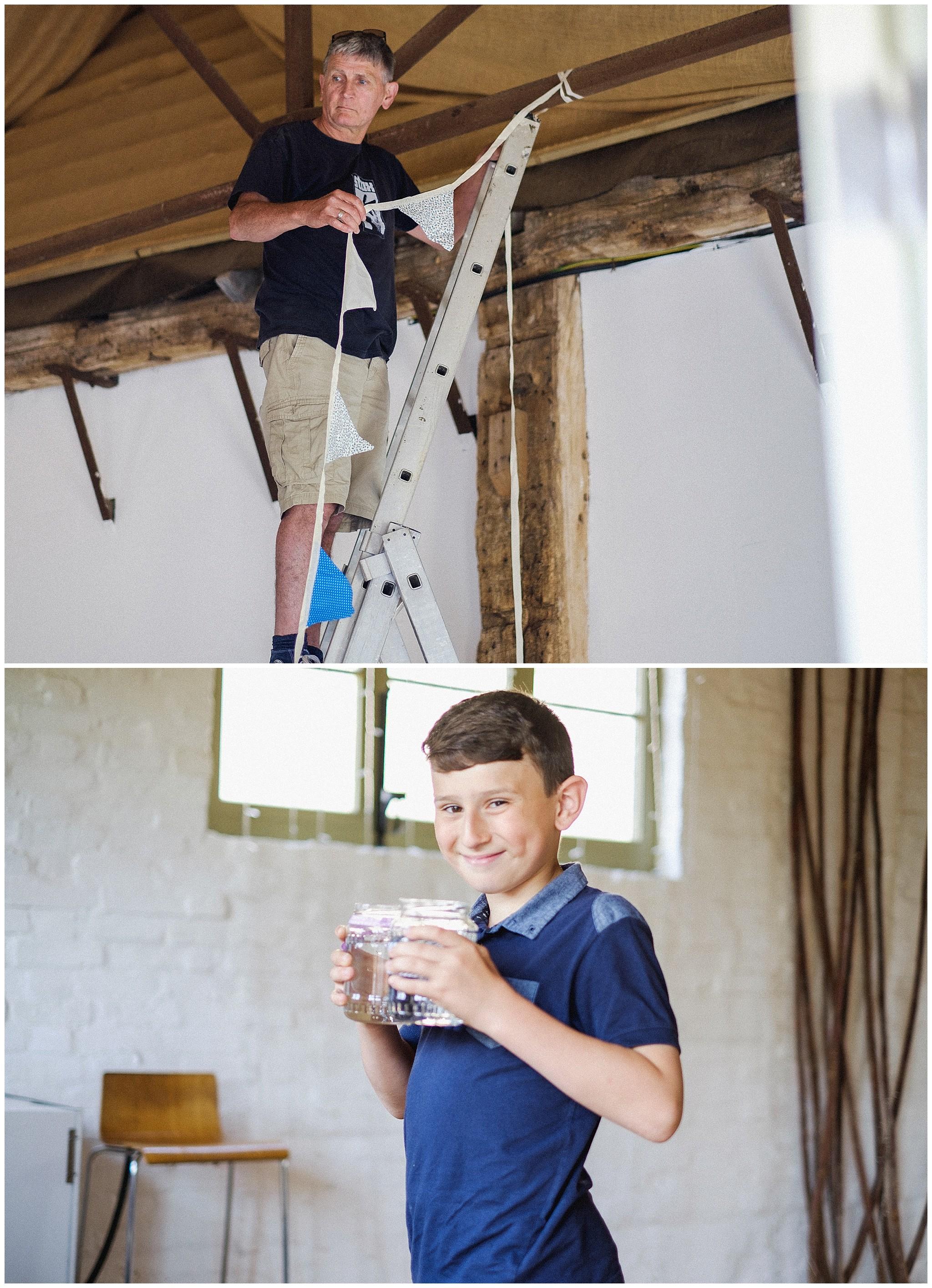 Barn wedding preparation