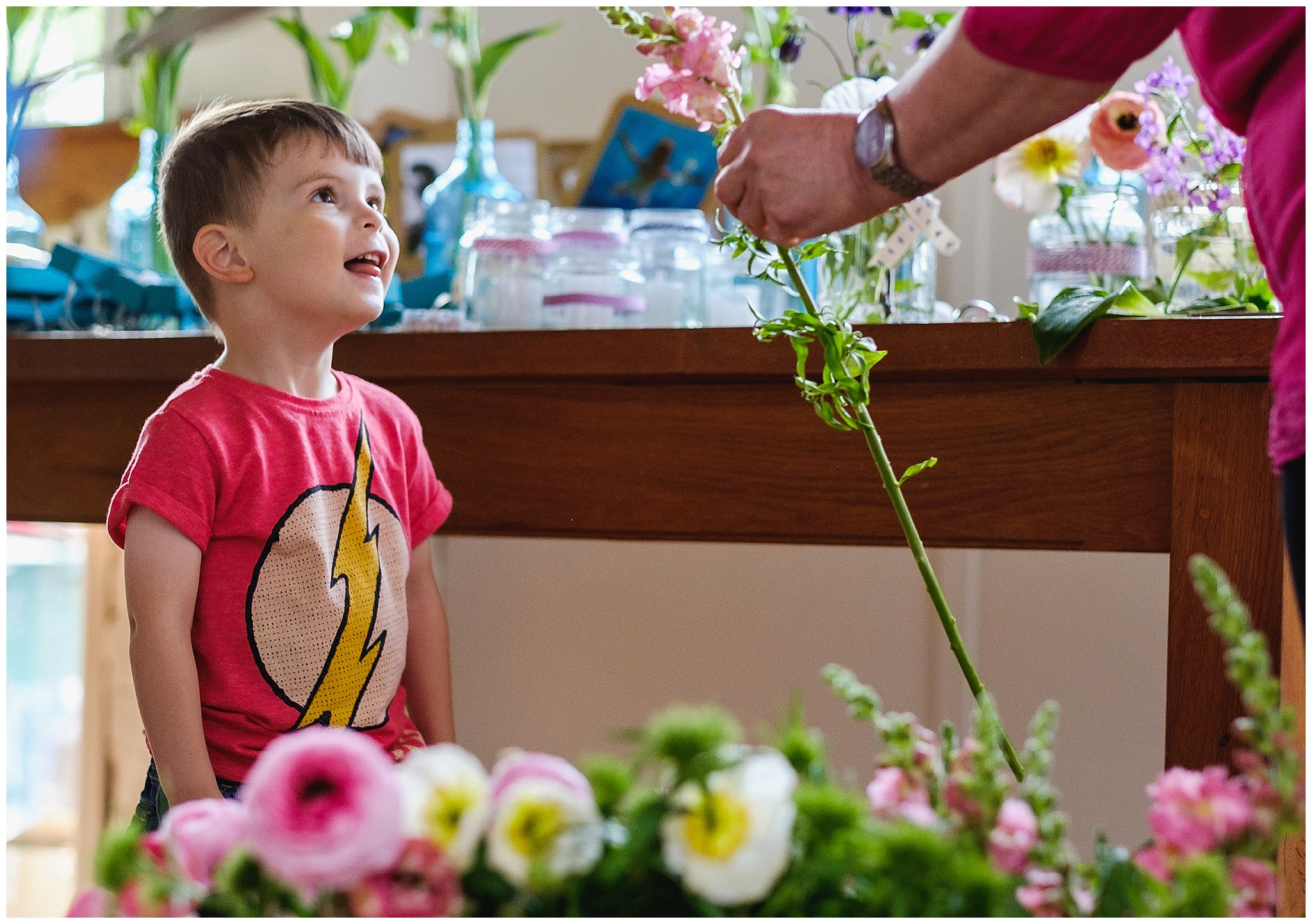 page boy helps with flowers
