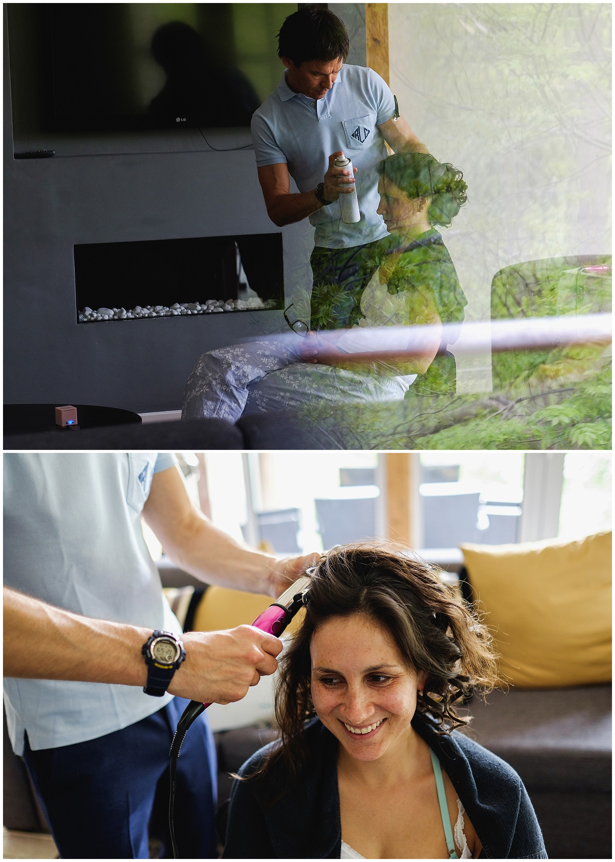brides get her hair done