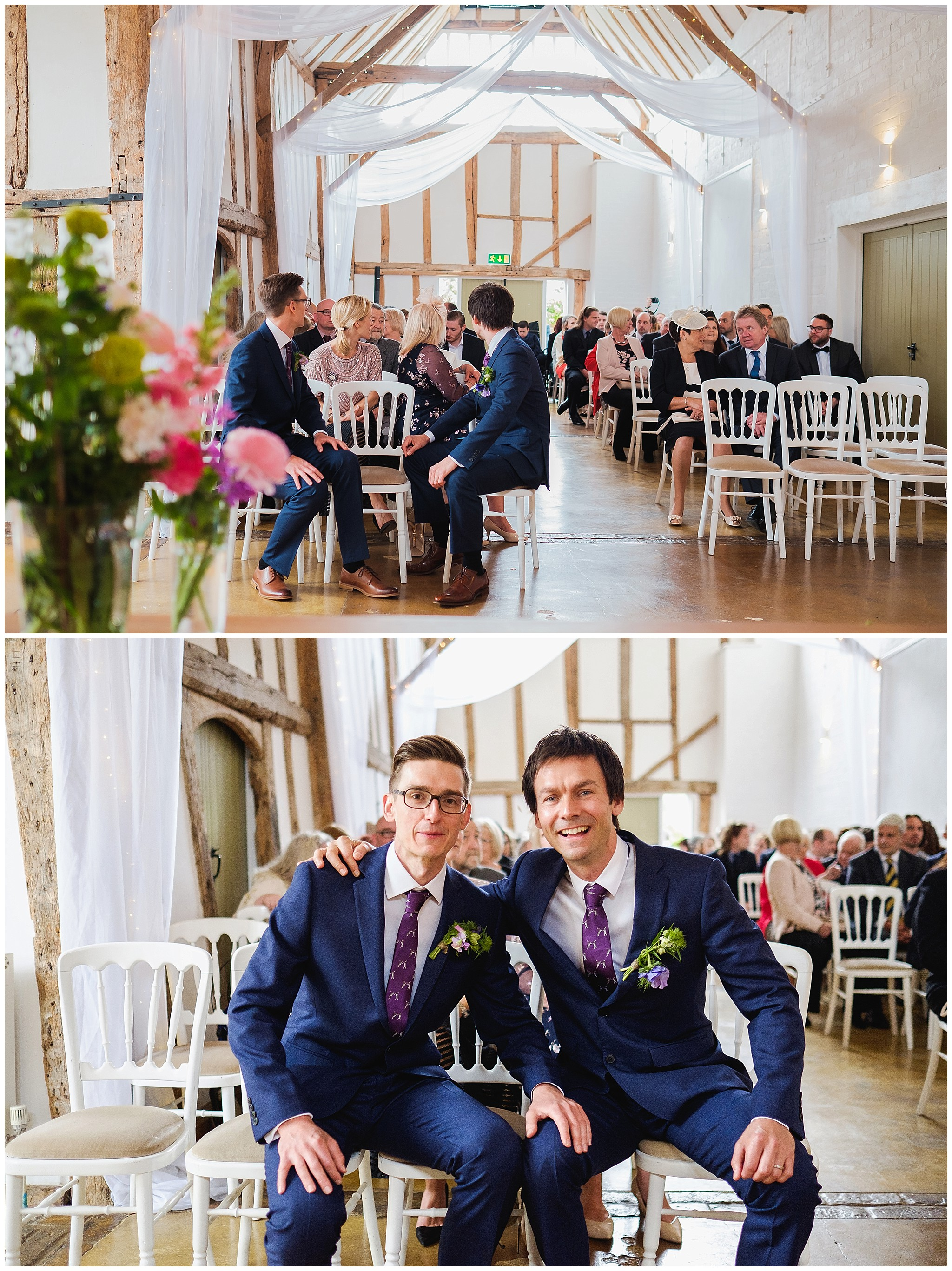 Wedding Barn and Groom waiting with best man