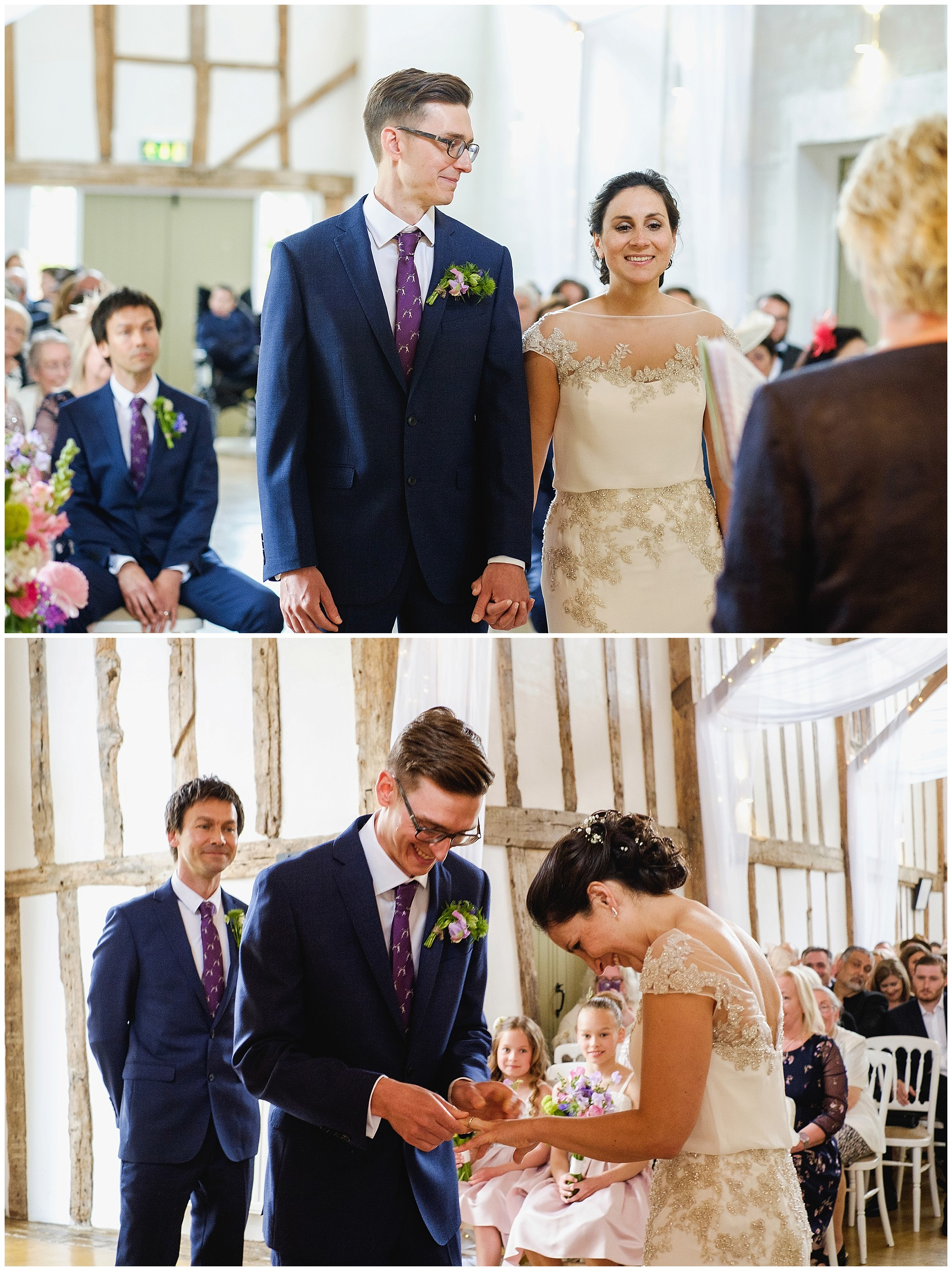 Bride get ring on finger and laughs