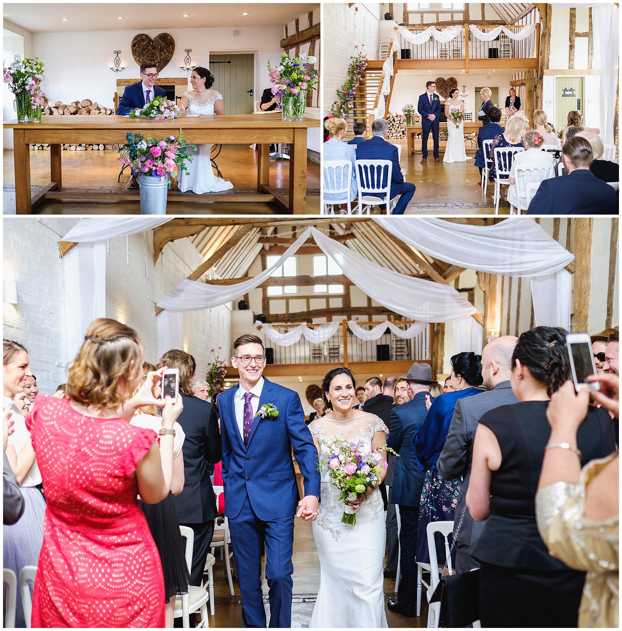 Wedding couple walk down the aisle
