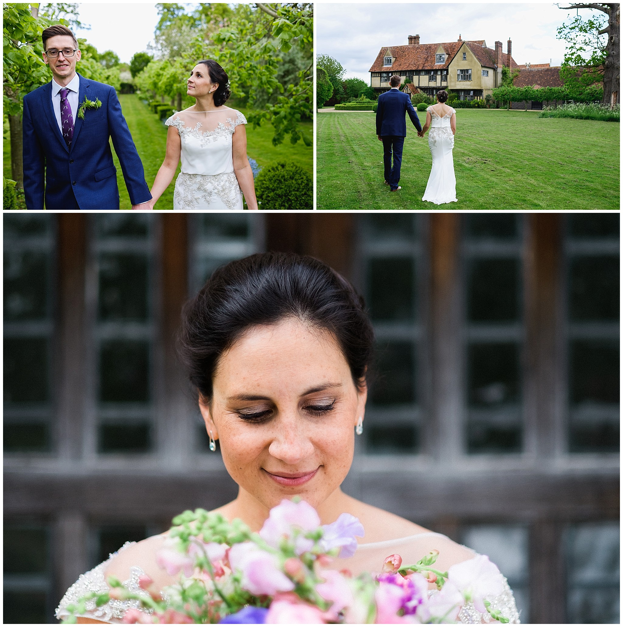 Wedding couple walk in Suffolk Gardens