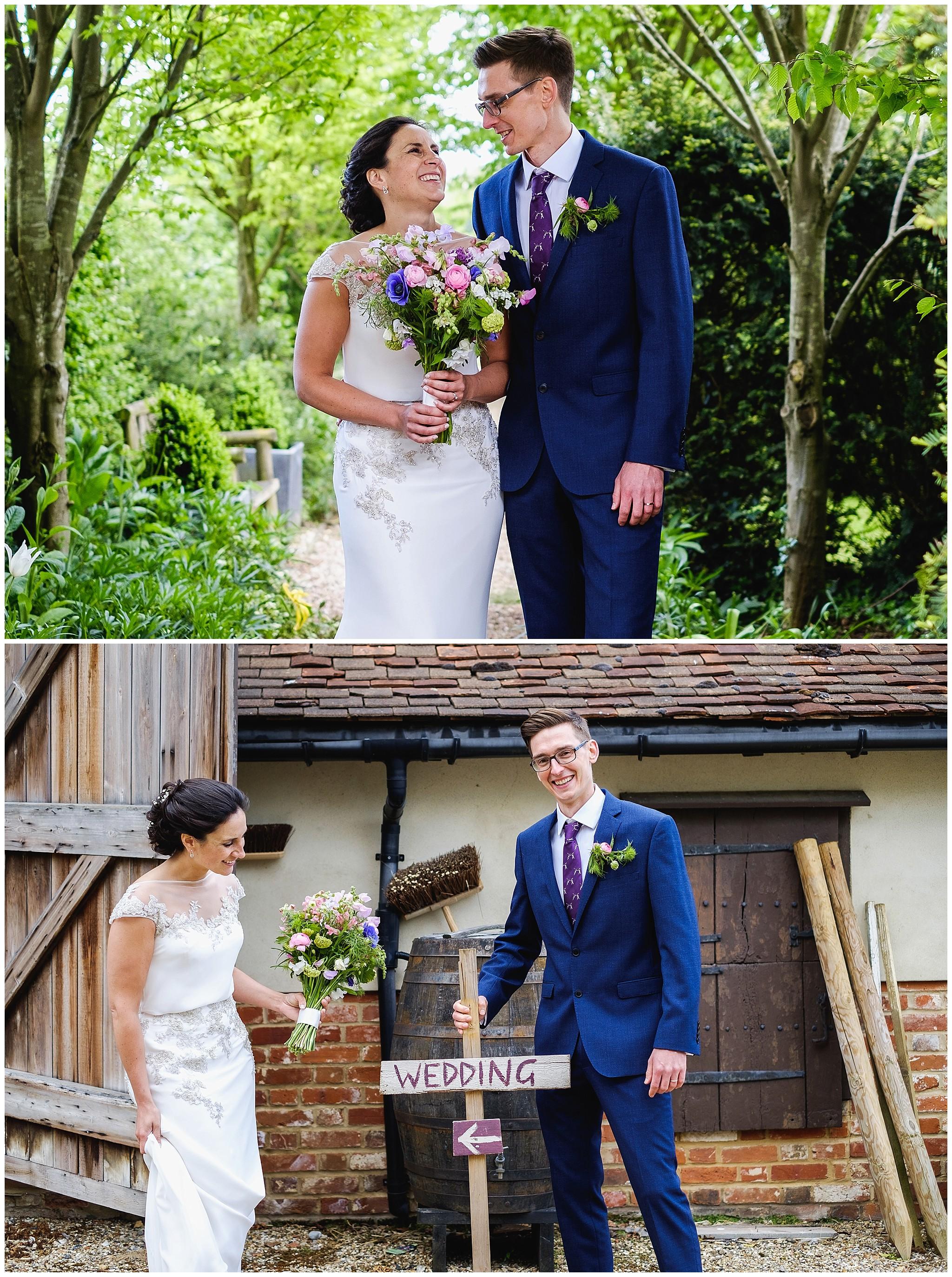 Wedding couple having fun in Suffolk