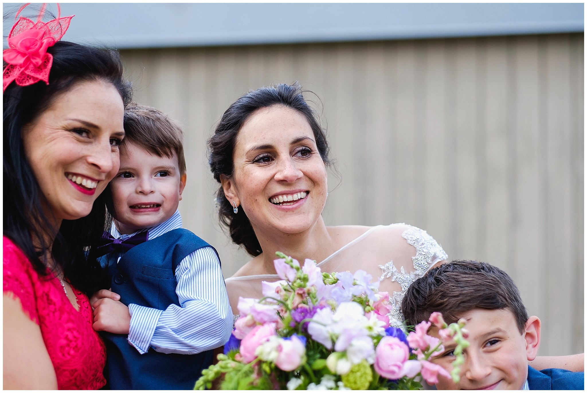 Bride and family candid portrait