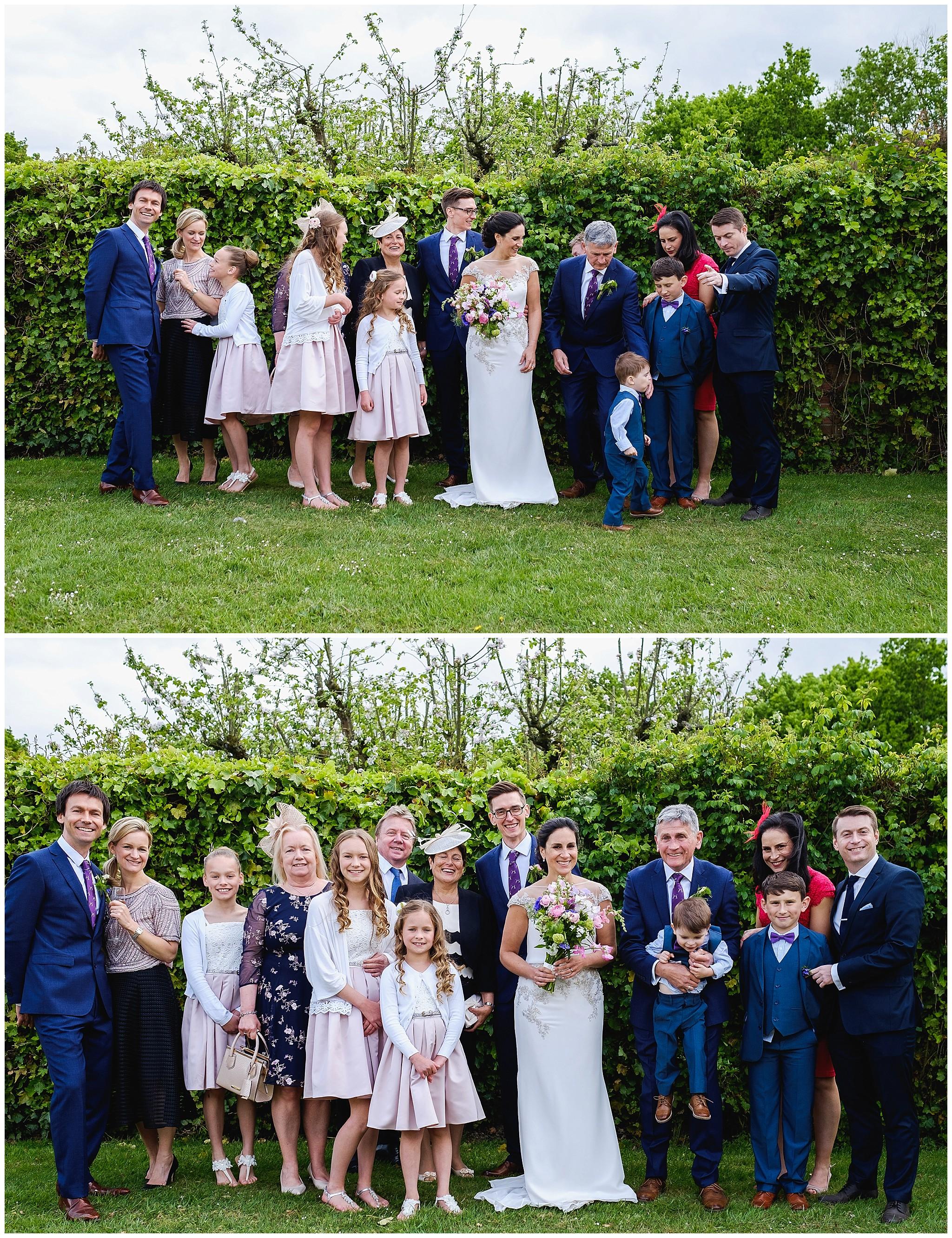 Wedding family portrait at Suffolk Barn wedding