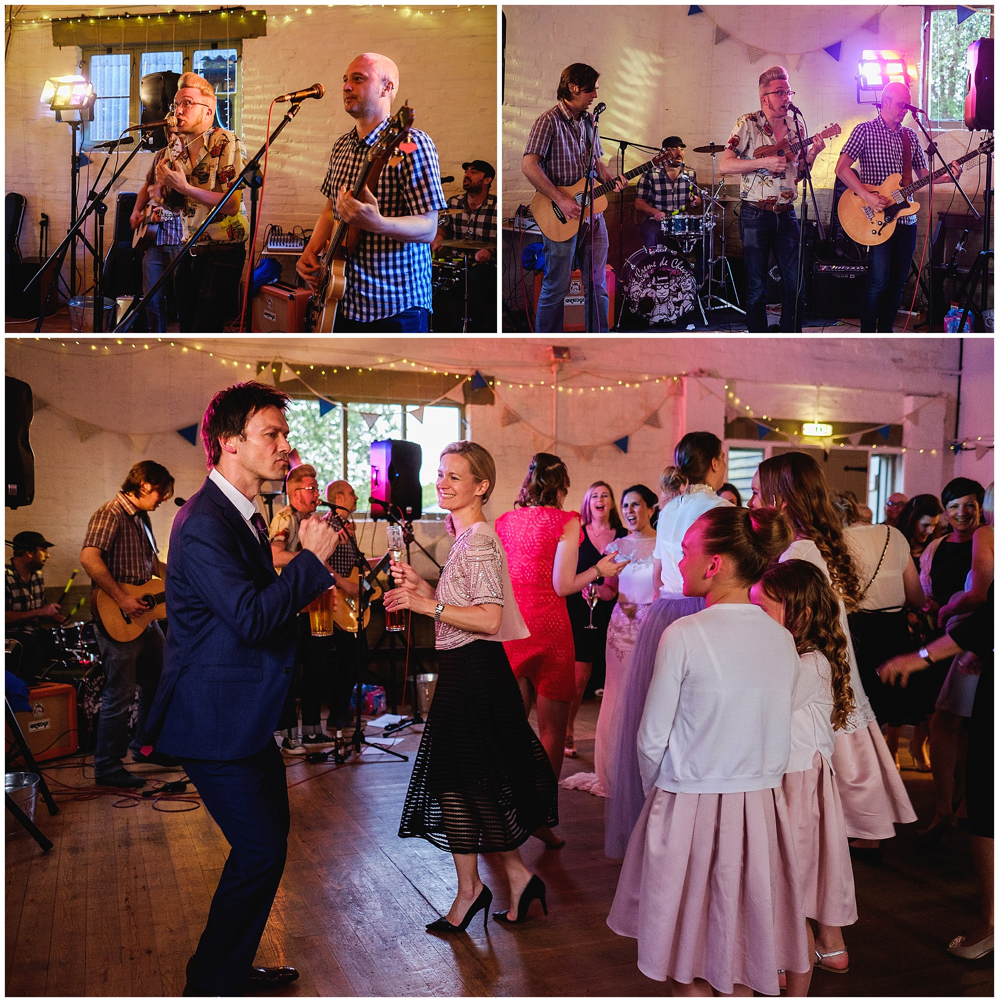 Wedding guests dancing as band plays