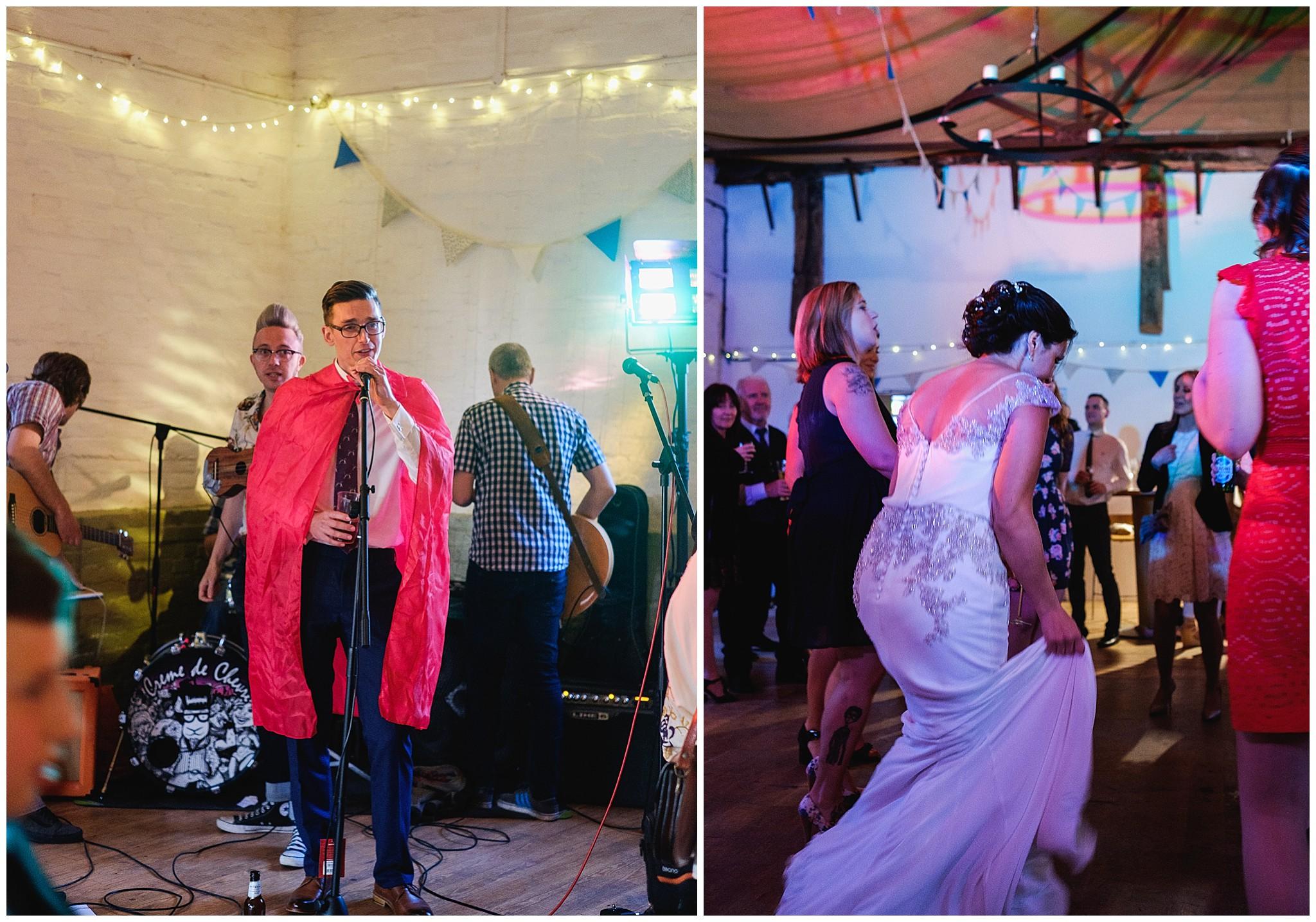 Wedding dancing in Barn