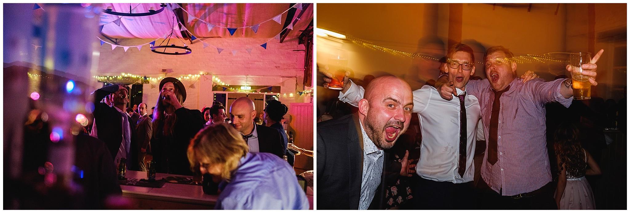 Wedding guests drunken dancing