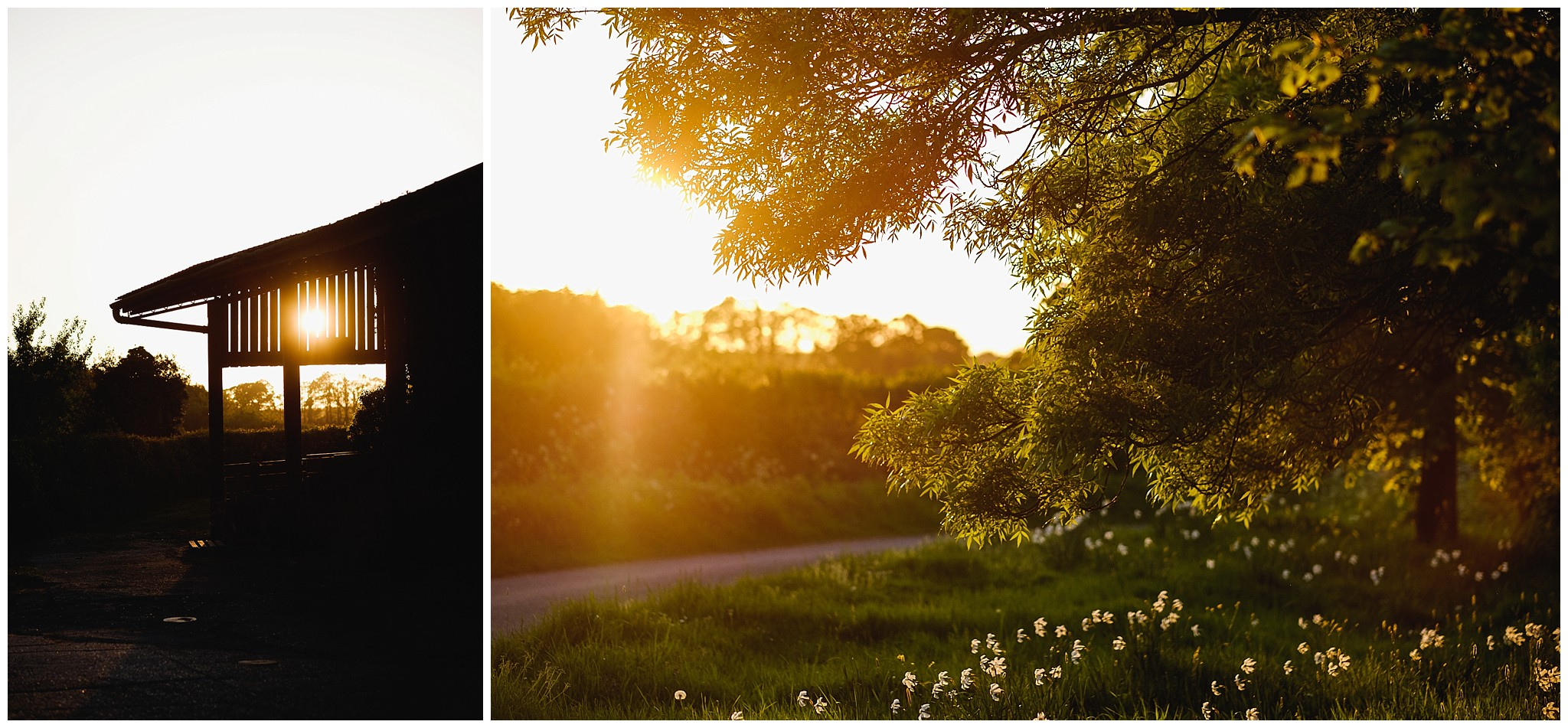 Sun sets on Barn wedding