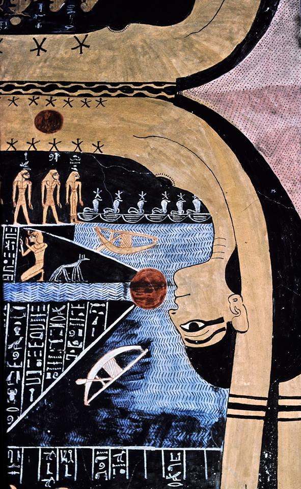 The goddess Nut (night) swallowing the Sun. Book of Night, Tomb of Rameses VI.