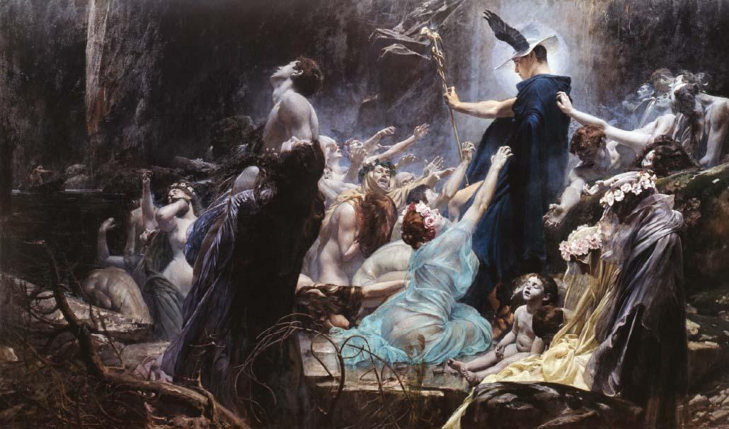 Adolf Hirémy-Hirschl,  The Souls on the Banks of Acheron  (1898).Österreichische Galerie Belvedere.