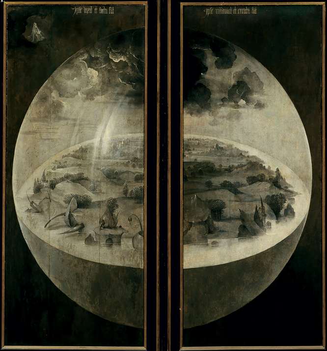 Hieronymus Bosch (c. 1450–1516), 'Creation' (exterior shutters of 'The Garden of Earthly Delights'.  Circa 1480–1490, Museo del Prado.