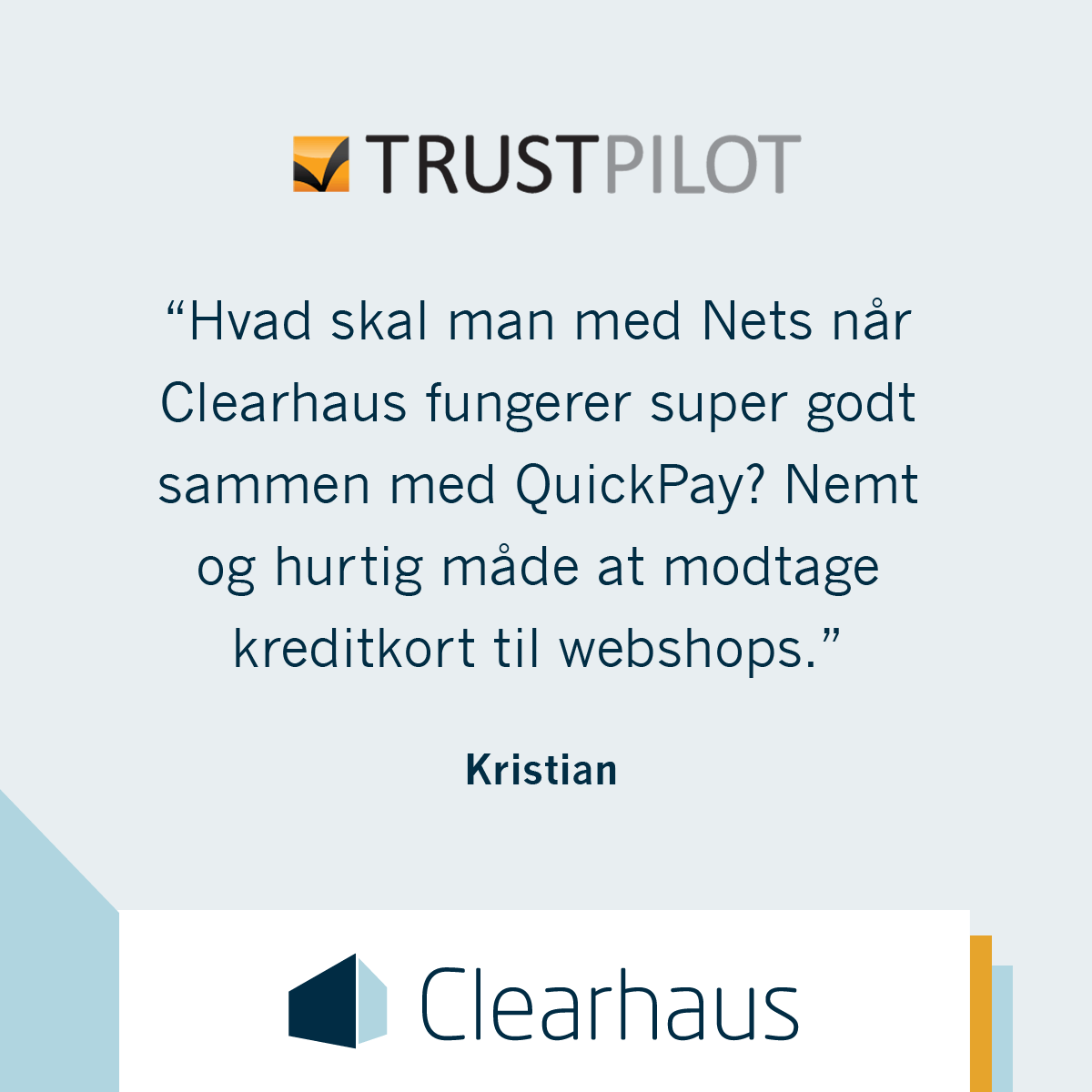 Clearhaus Trustpilot quote box