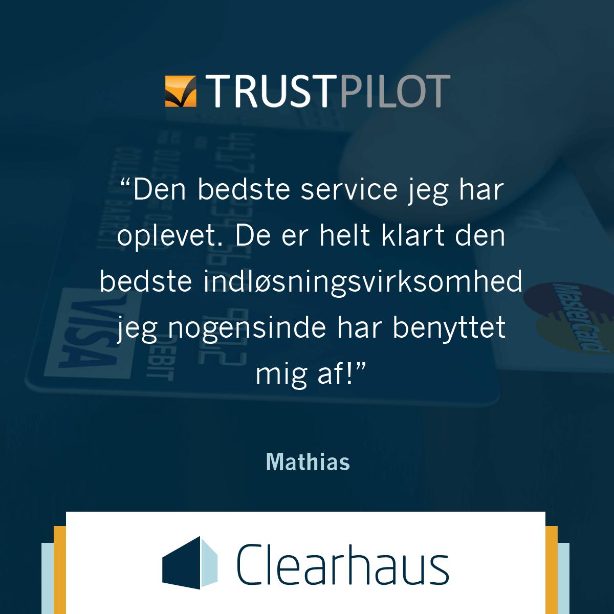 Clearhaus Trustpilot quote