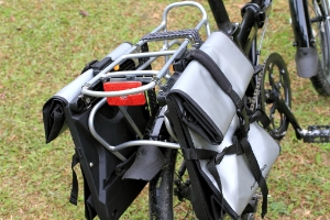 Bicycle with a back bike rack with panniers attached