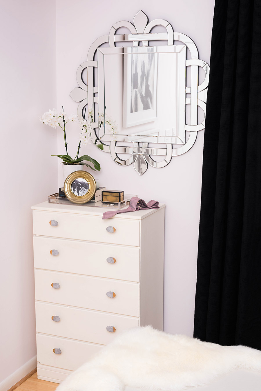 Mirror - HomeGoods | Curtains - Bed, Bath and Beyond | Dresser - Vintage | Knobs - Anthropologie | Accessories - HomeGoods | Orchid - HomeDepot