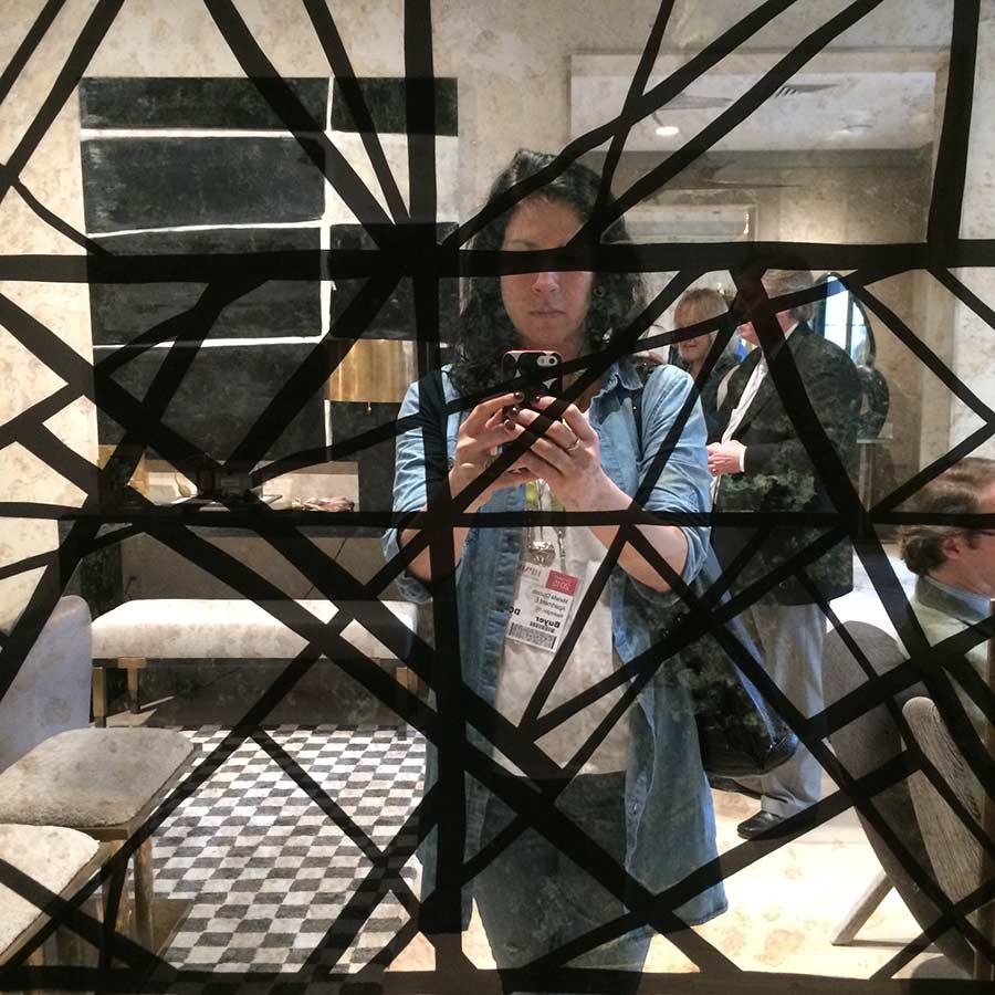 My reflection on a Kelly Wearstler mirror at High Point Market Spring 2015