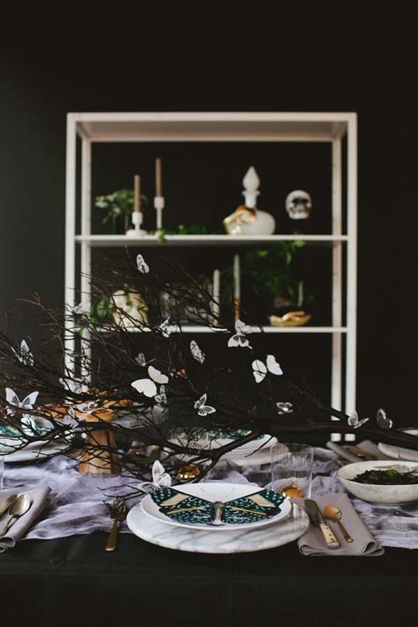 Butterfly inspired table set up by  Coco Kelley