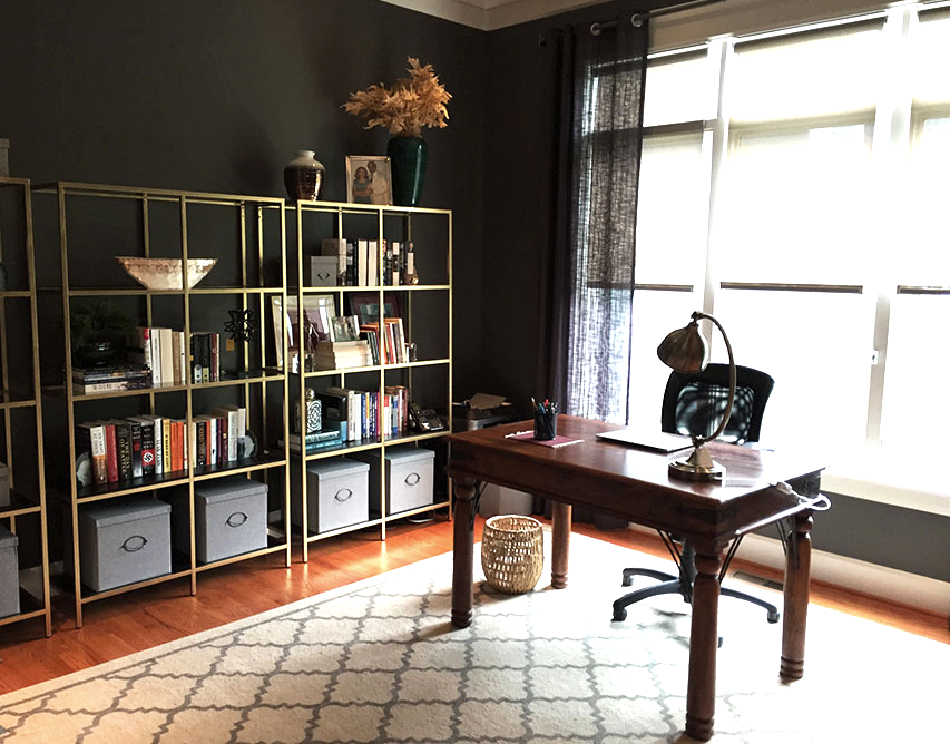 Budget friendly IKEA DIY Bookshelves provide extra storage and lots of room for styling!
