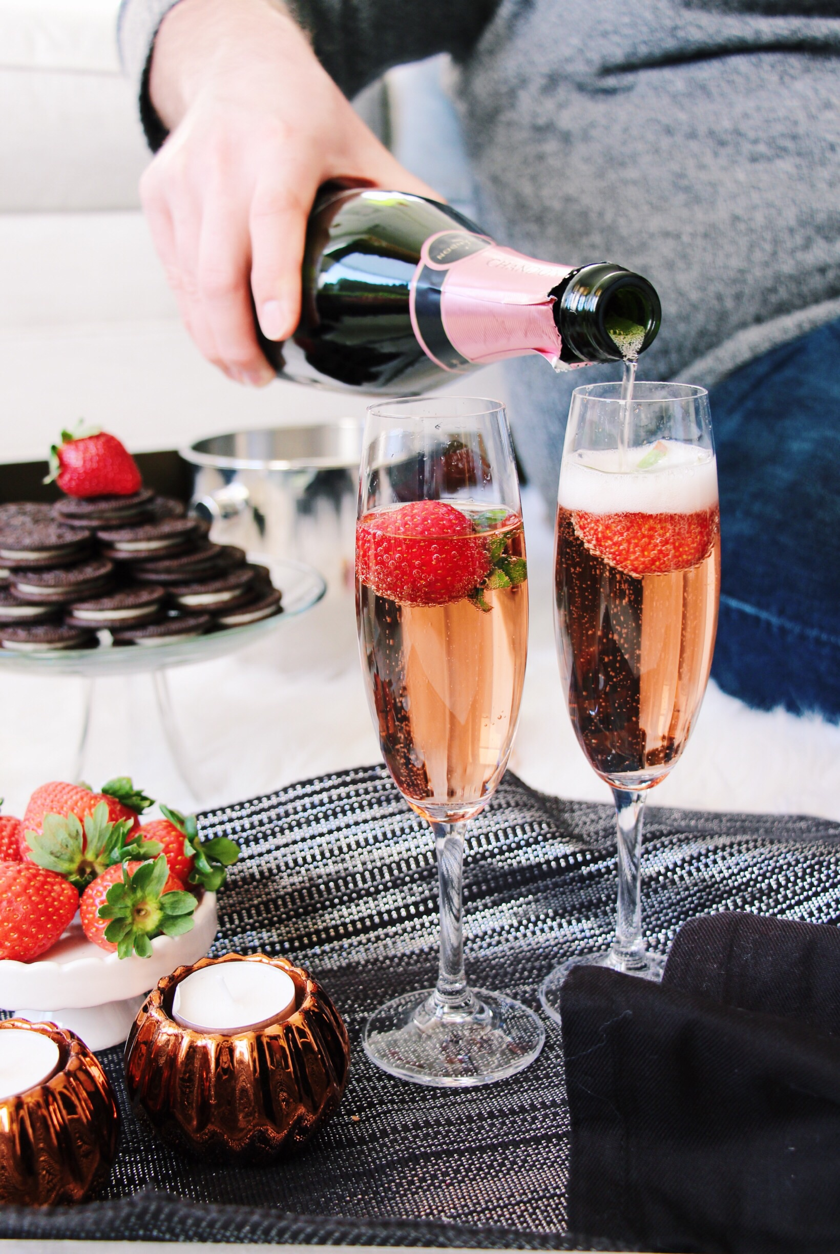 TIP 3 -->  Place strawberries in your champagne flutes!It makes toasting extra special.