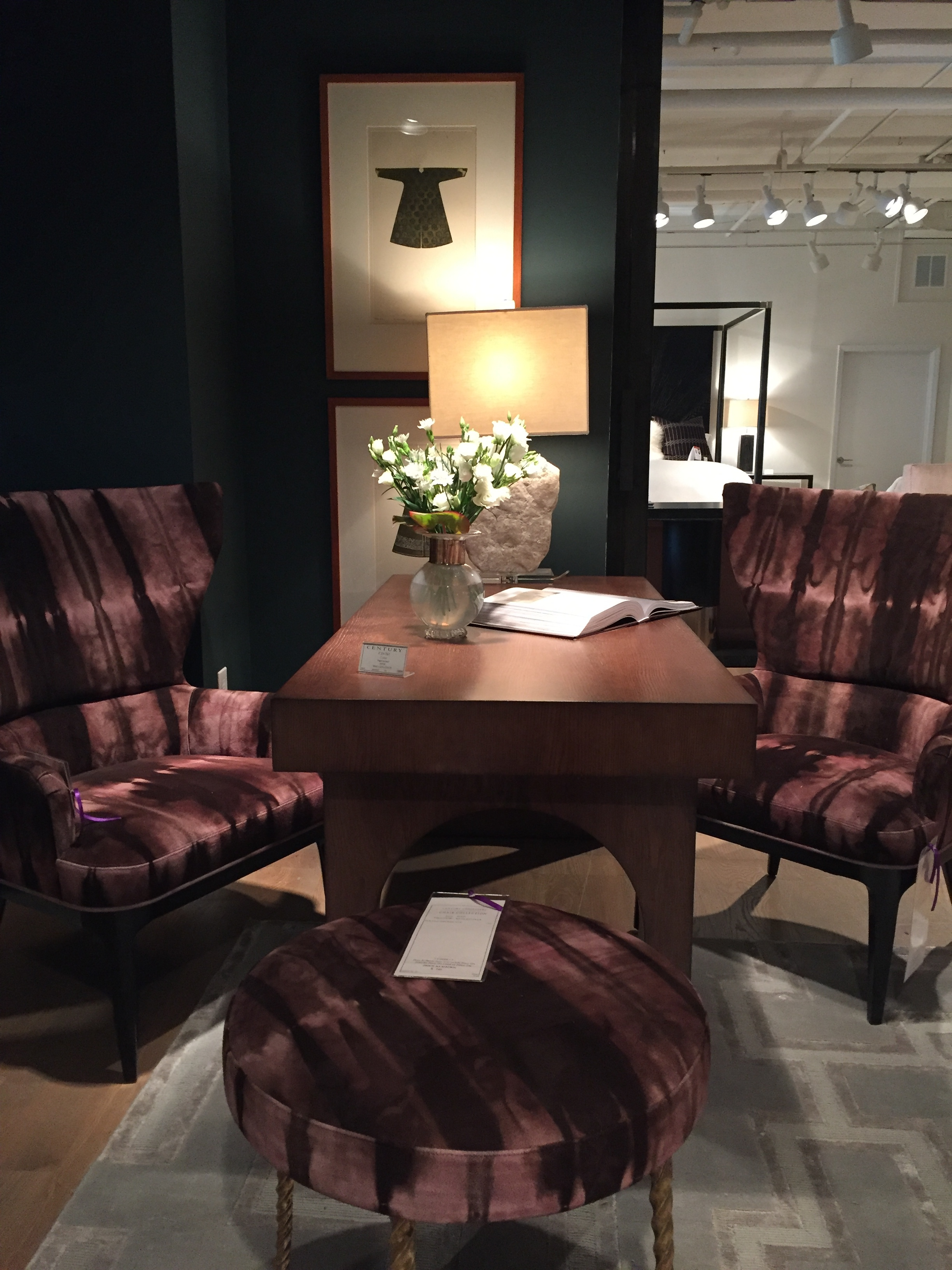 The most luxurious fabric on a perfect pair of chairs from  Century furniture