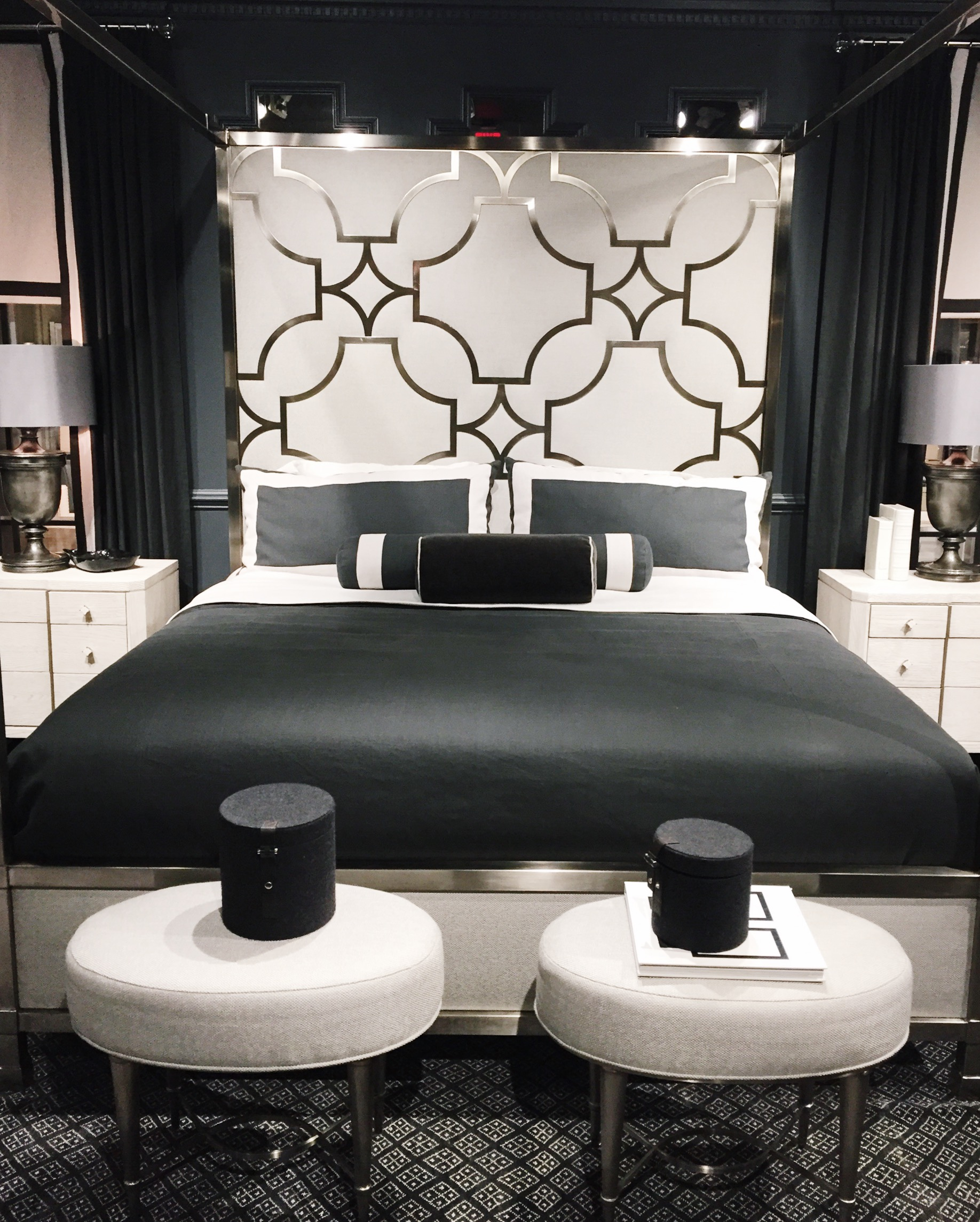Fabulous headboard by  Bernhardt . Perfect start for a Black & White glam bedroom