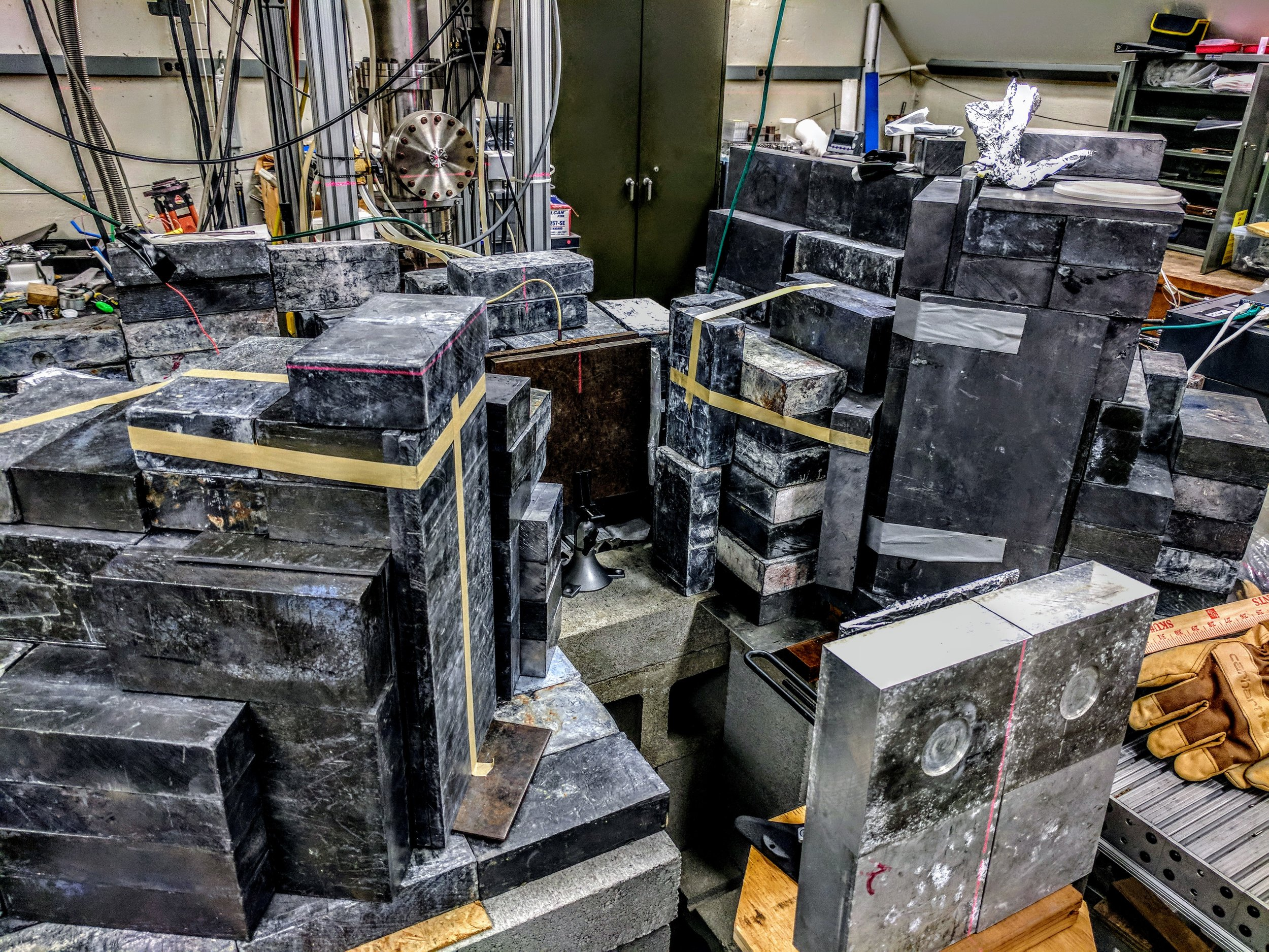 The transmission NRF experimental verification system used by LNSP. The combination of low cross sections of NRF and the slowness of the germanium detectors require us to use (multiple) tons of lead shielding to make a measurement happen.