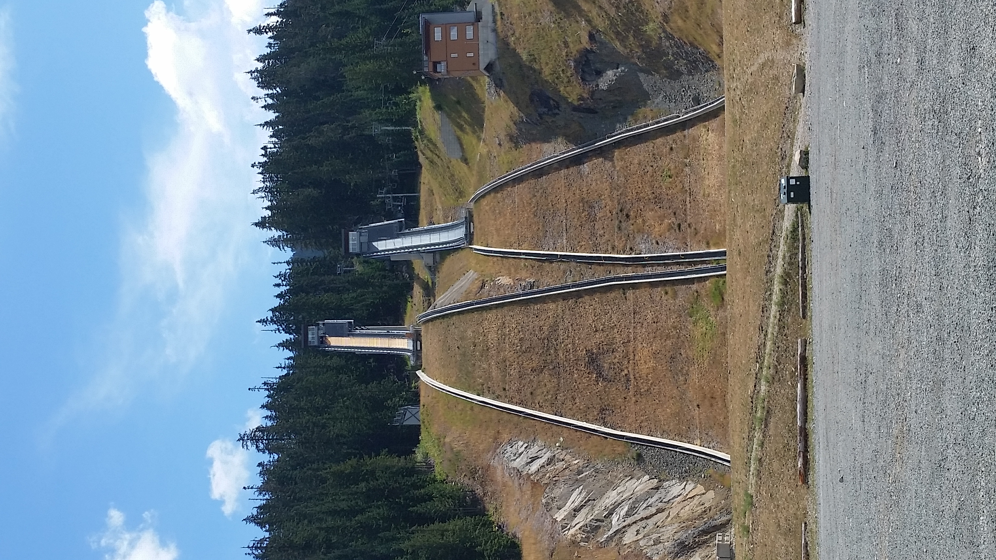 The 2010 Winter Olympics Ski Jumps near the turnaround on Callaghan Road. (Photo not from race day)