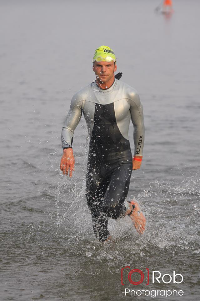 I exited the water in 5th place in 51:39. Photo Credit: Robert Mahaits.
