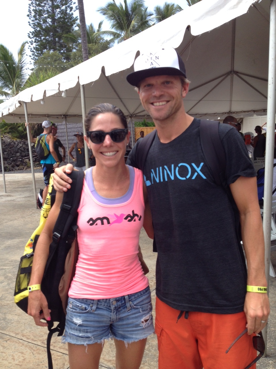I met Laurel Wassner back in 2011 while training in Tucson with Cliff. This year she and I were the final professionals to qualify for Kona on either side. Photo was snapped after the pro meeting on Thursday.