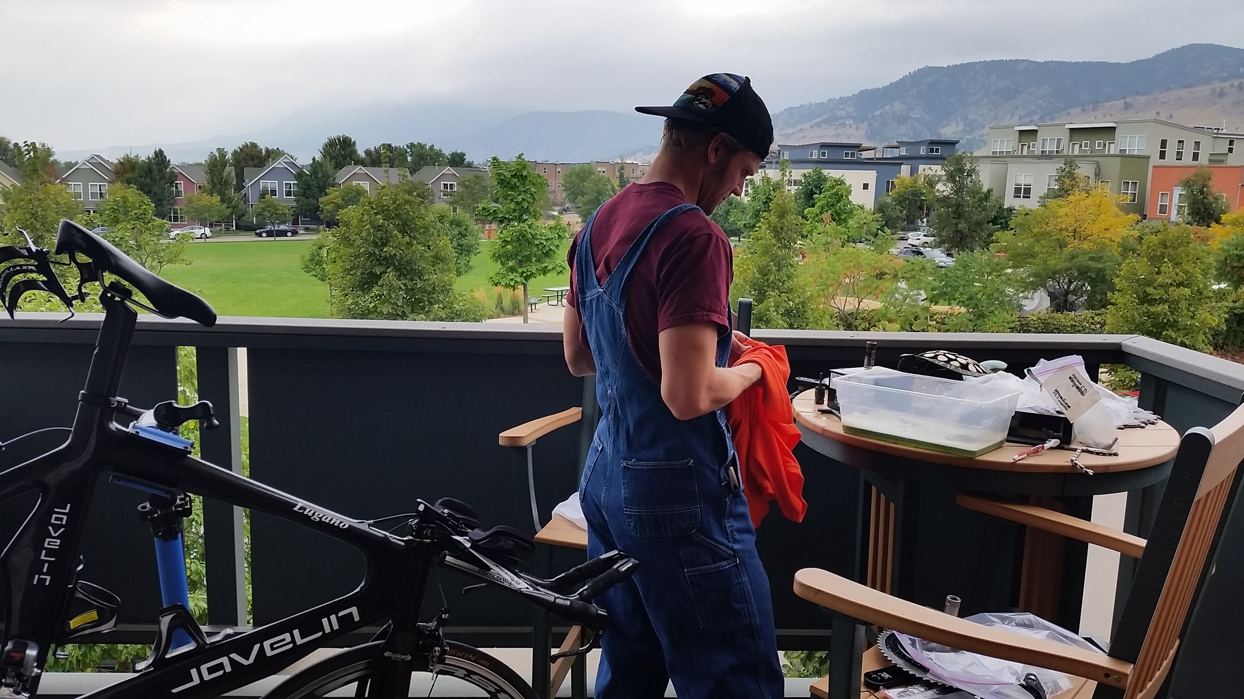 The overalls I'm wearing are not ironic, nor do they have anything to do with the fact that I went to Texas A&M. I actually find them to be quite helpful when doing extensive work on my bike.