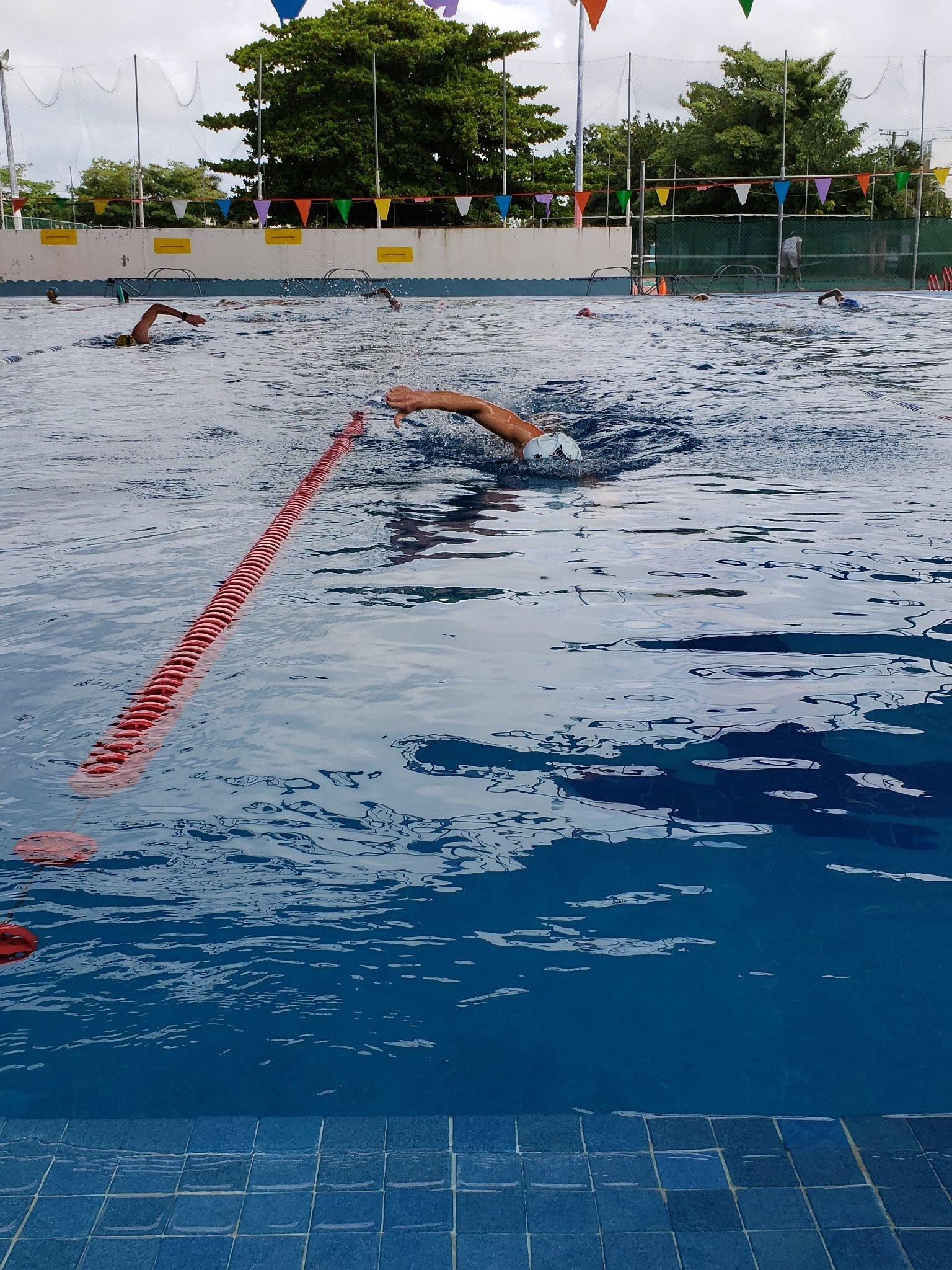 Pre-race swim in the Cozumel pool. Ran into some friends and got to check out a local swim meet going on in lanes 1+2. While I do normally like to do pre-race swimming in a pool, there wasn't another option this year as the days leading up to the race had very rough seas.