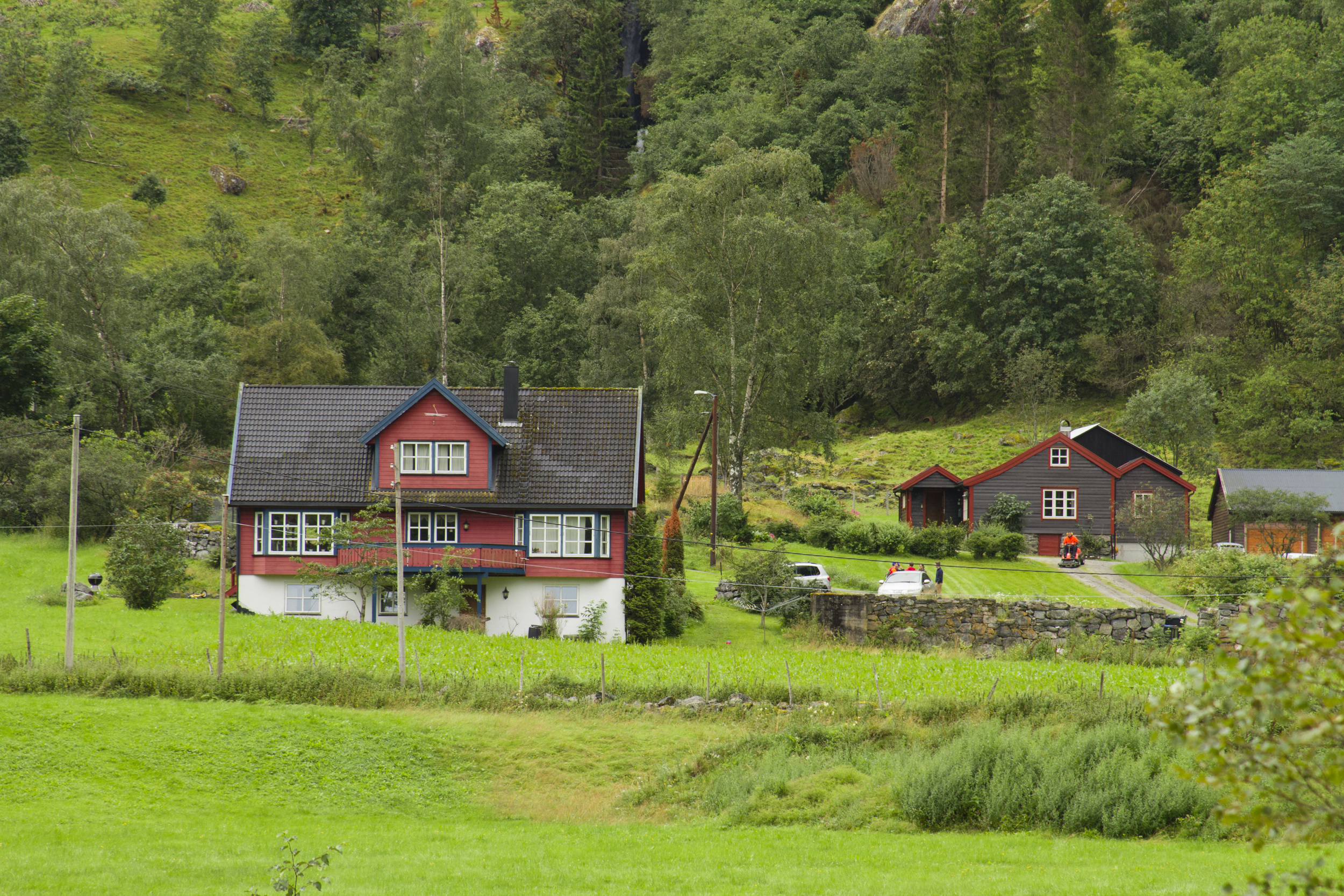 5. The timber Norwegian houses are paired in muted colours which enable them to 'fit' into the surrounding scenery without being unsightly.