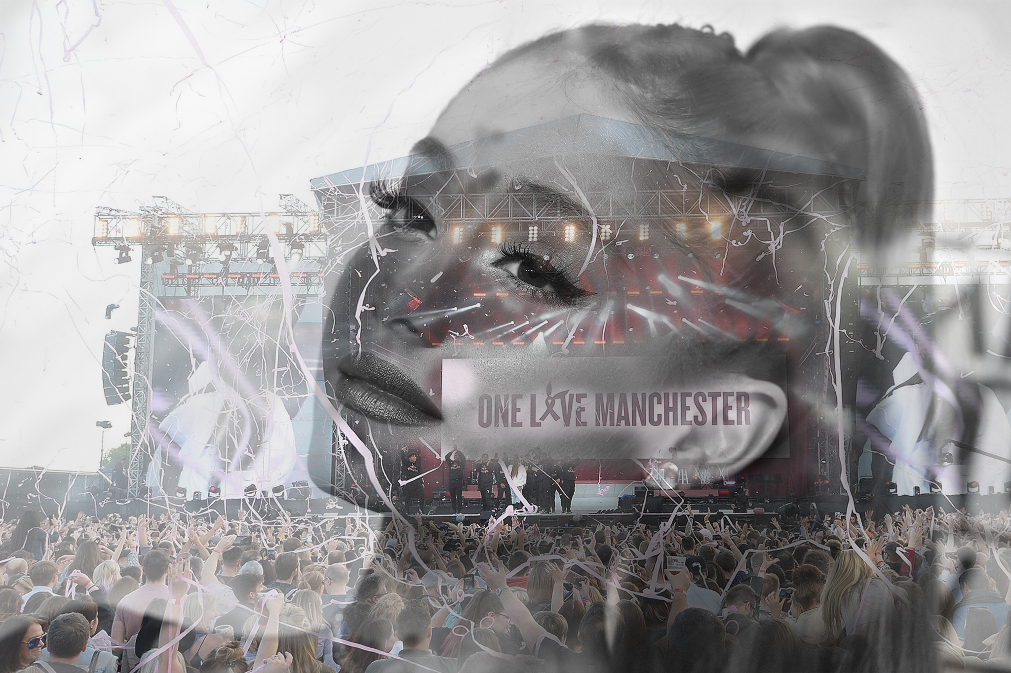 The image above is a composite of two photographs based on Ariana Grande's One Love Manchester concert. Following the Manchester Arena atrocity, the young singer encapsulated the resilience and strength of the city and community. I intended to overlay her face over the fundraising concert at the Old Trafford cricket ground.
