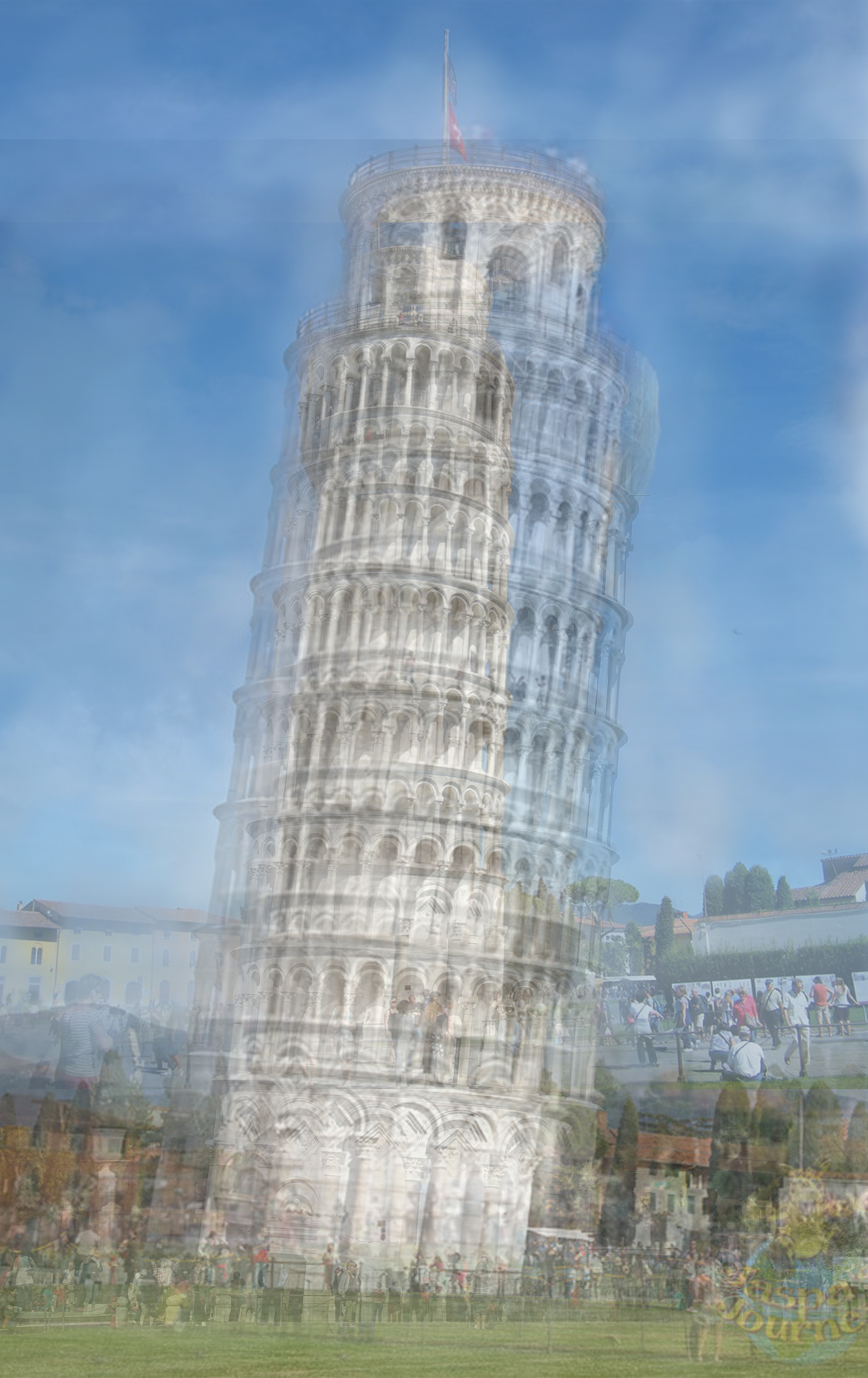Similarly, this image of the Leaning Tower of Pisa (above) is a compilation of many similar photographs. It reminds me of Martin Parr's  photograph , in 'Small World', of a number of people attempting to have their photograph taken, trying to either push over, or keep the tower upright.