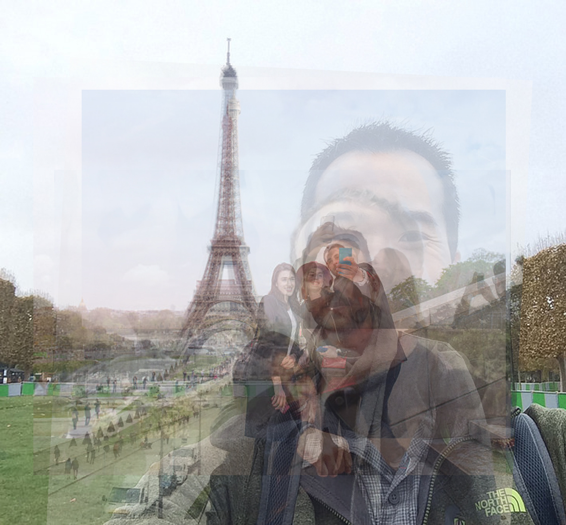 Eiffel Tower Selfies, appropriated from the Internet, and combined to create a composite image.