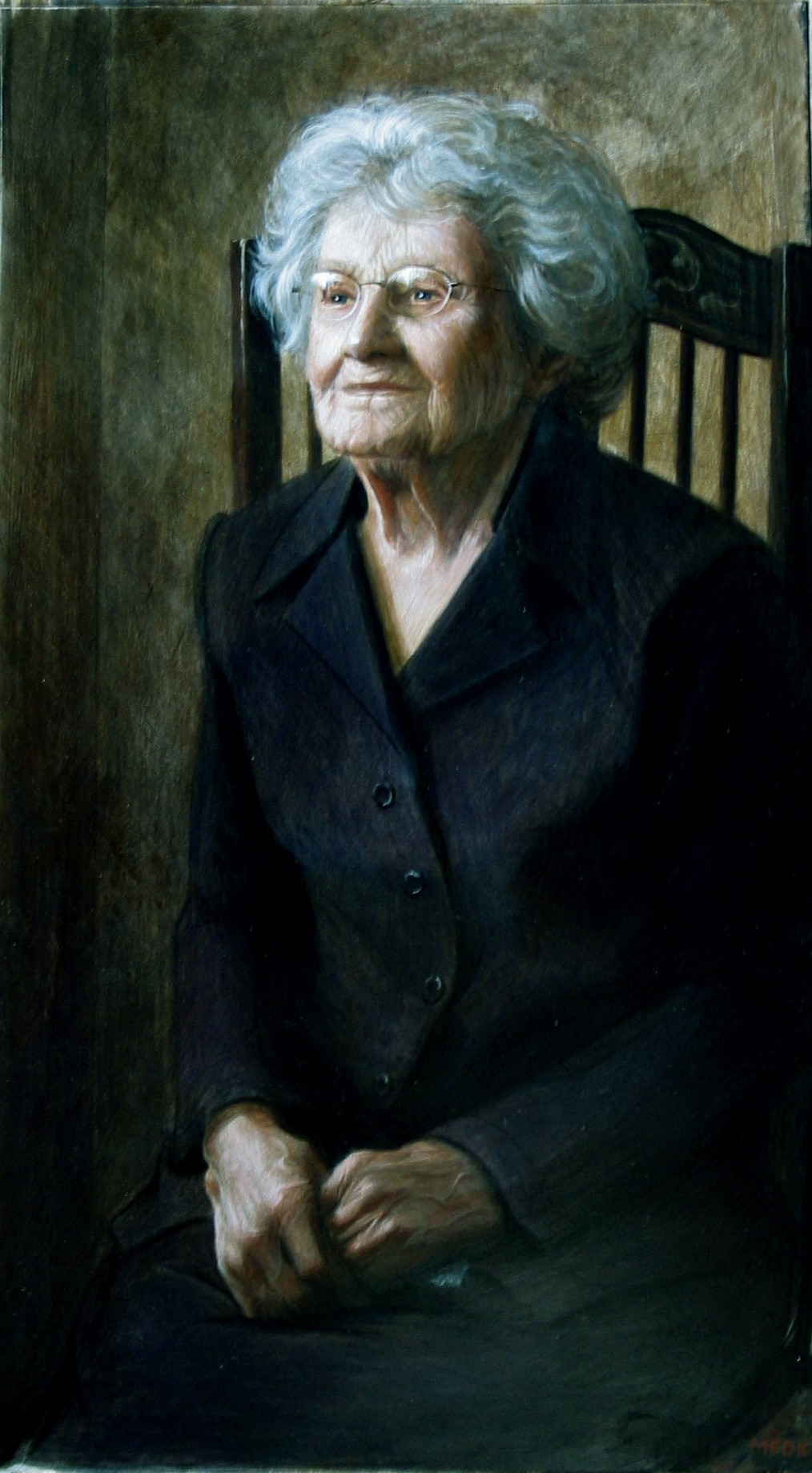 Mrs. Brocious  Egg Tempera on Gesso, 32 x 16 inches  -Sold-