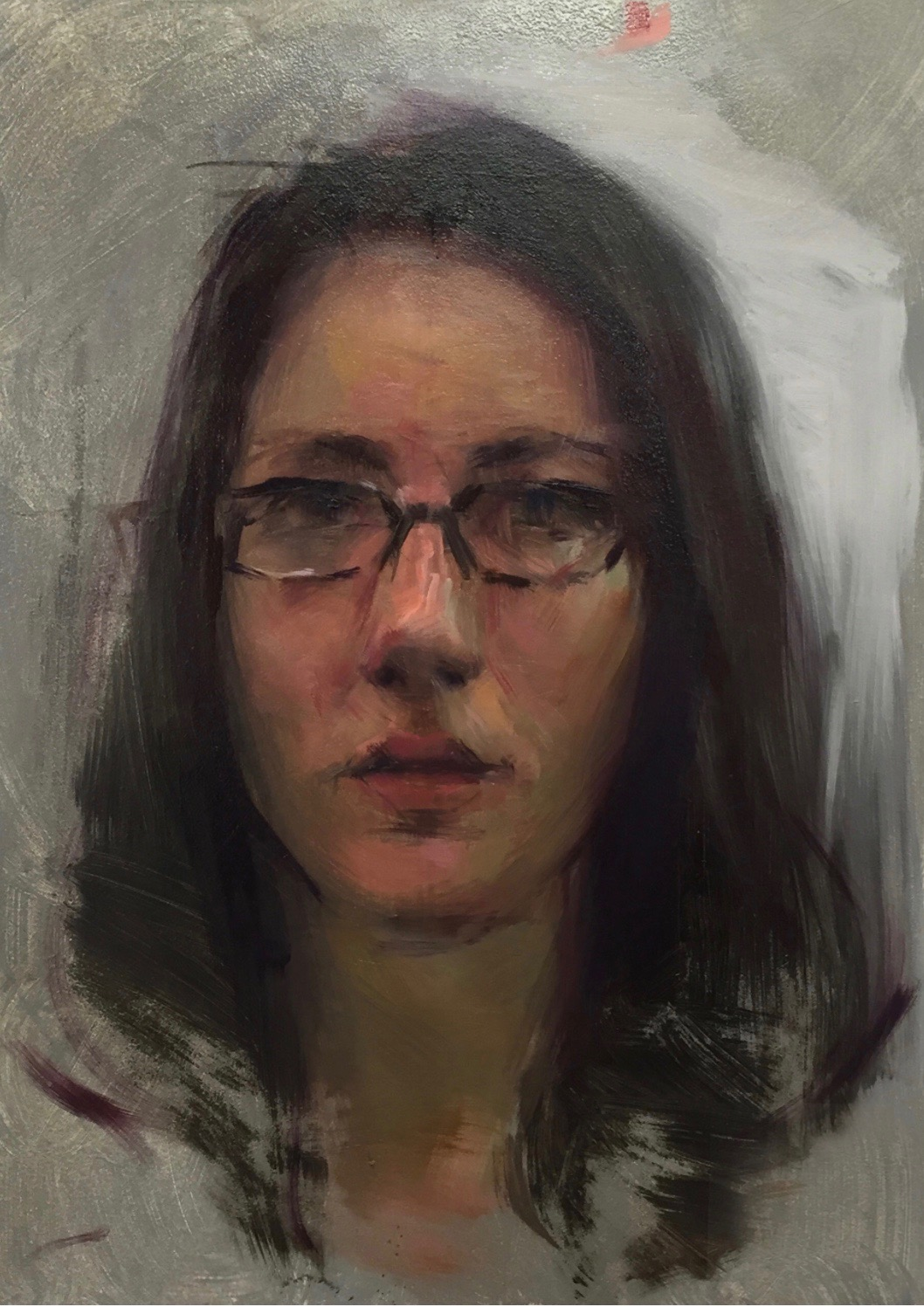 Self Portrait  Oil on panel, 14 x 11 inches