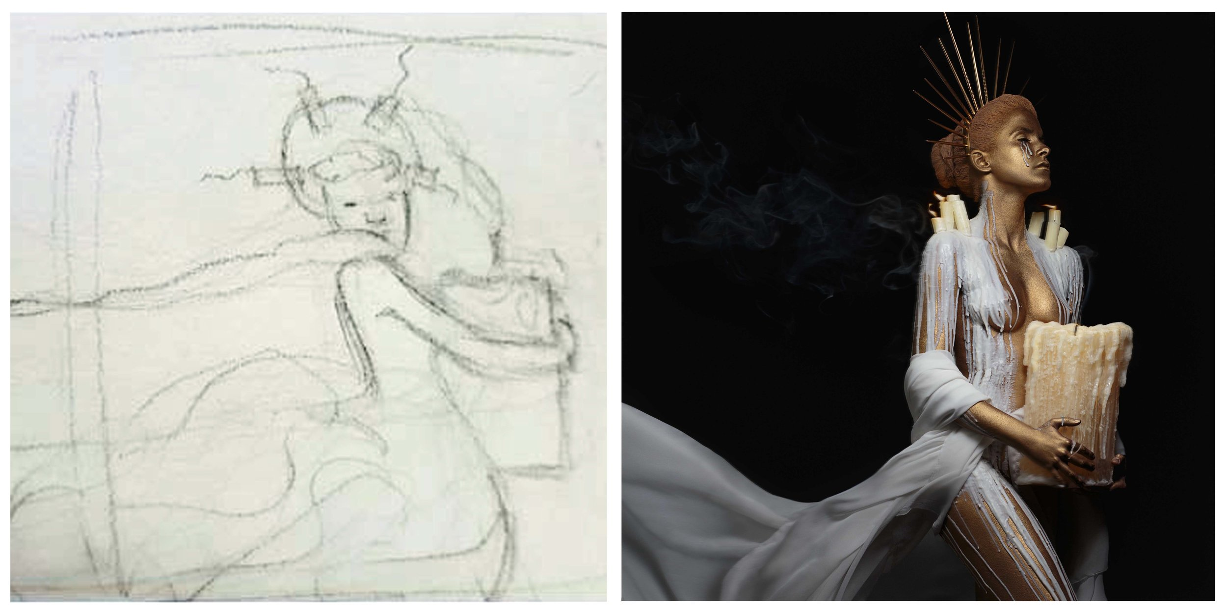 The proess of turning the drawing on the left into the photograph on the right.