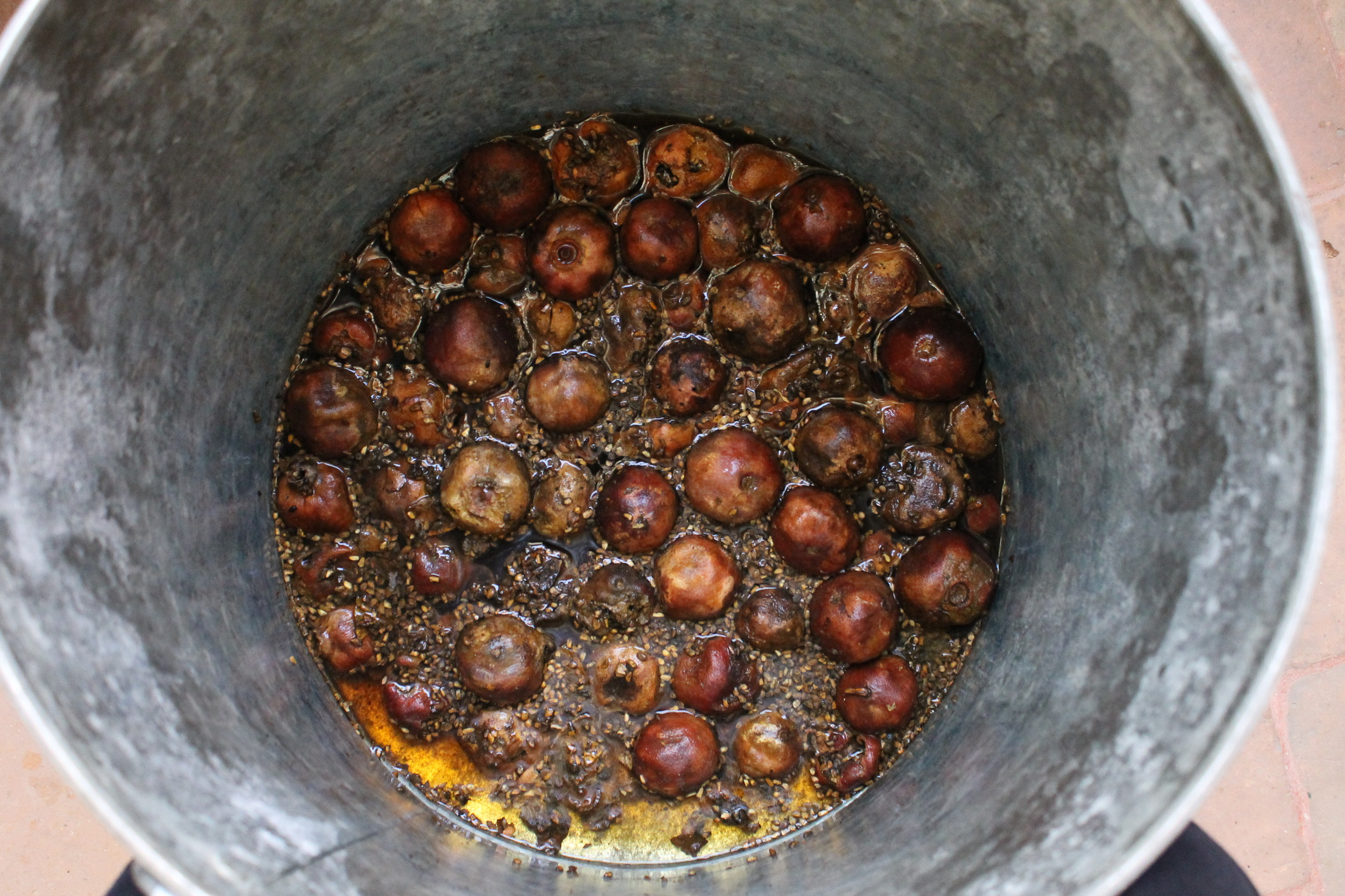 Dried pomegranates or  la granada , soaking