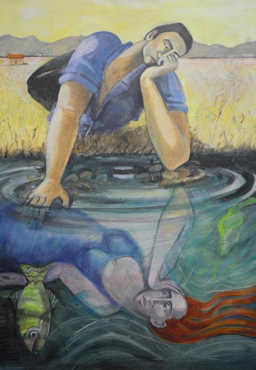 Angela Brittain  , Reflecting on you .Oil on canvas 59 x 84cm.